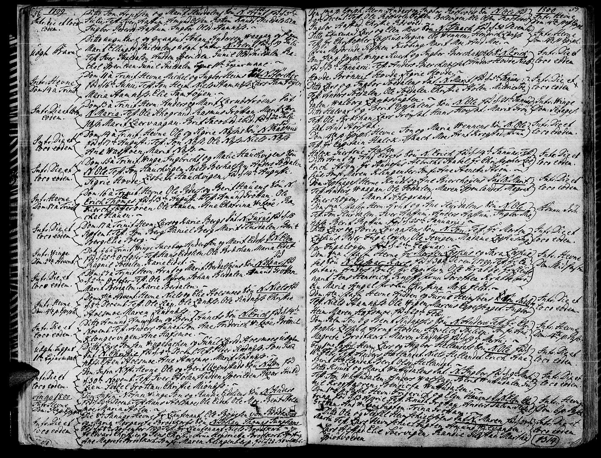 SAT, Ministerialprotokoller, klokkerbøker og fødselsregistre - Sør-Trøndelag, 630/L0490: Ministerialbok nr. 630A03, 1795-1818, s. 56-57