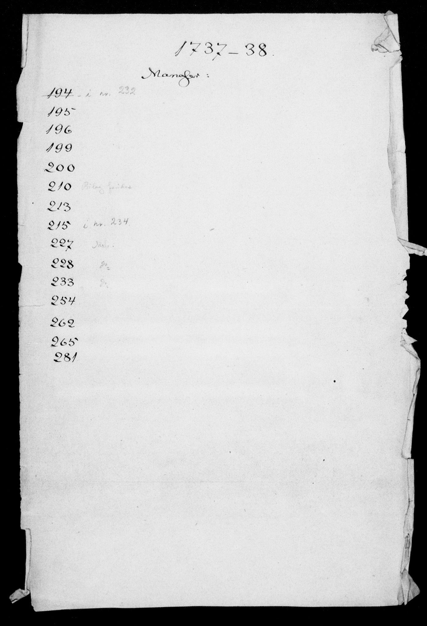 DRA, Generalkirkeinspektionskollegiet, F4-06/F4-06-02: Protokollerede indkomne sager, 1738