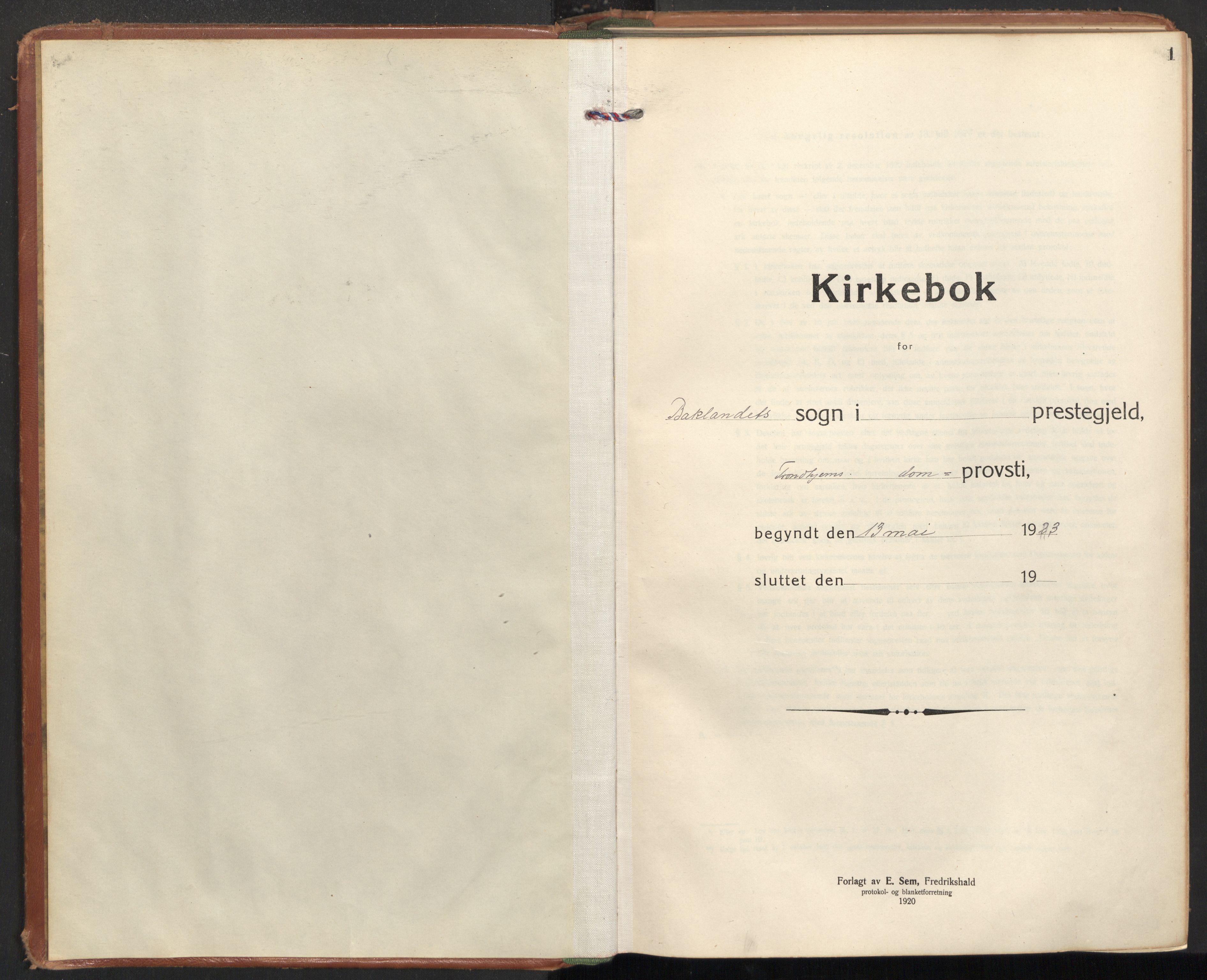 SAT, Ministerialprotokoller, klokkerbøker og fødselsregistre - Sør-Trøndelag, 604/L0208: Ministerialbok nr. 604A28, 1923-1937, s. 1