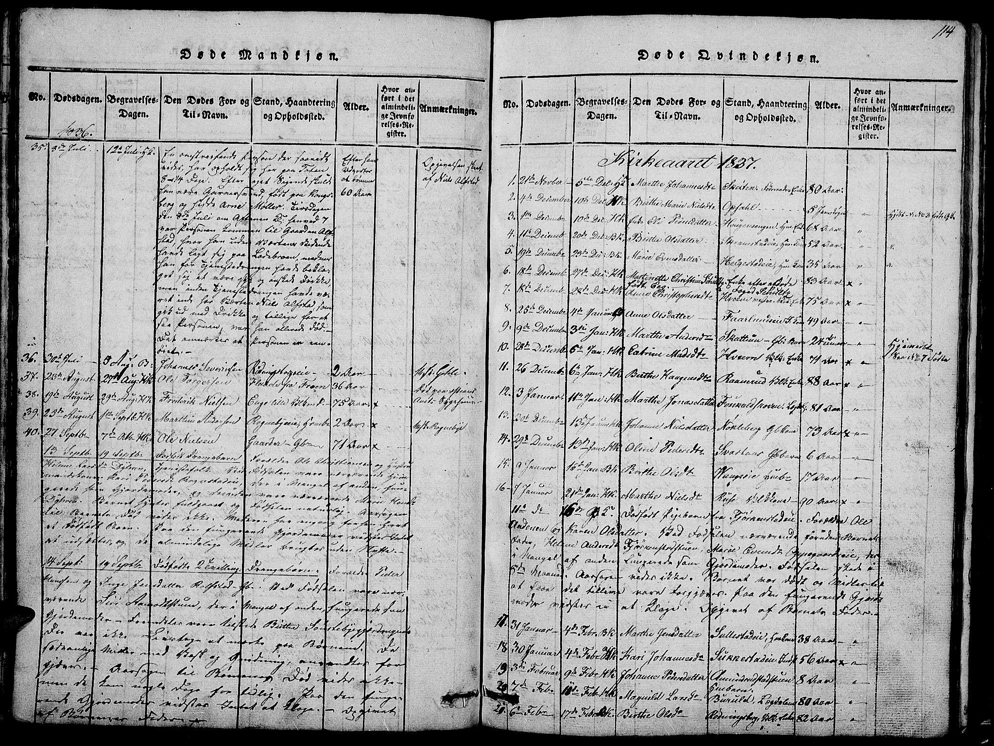 SAH, Østre Toten prestekontor, Klokkerbok nr. 1, 1827-1839, s. 114