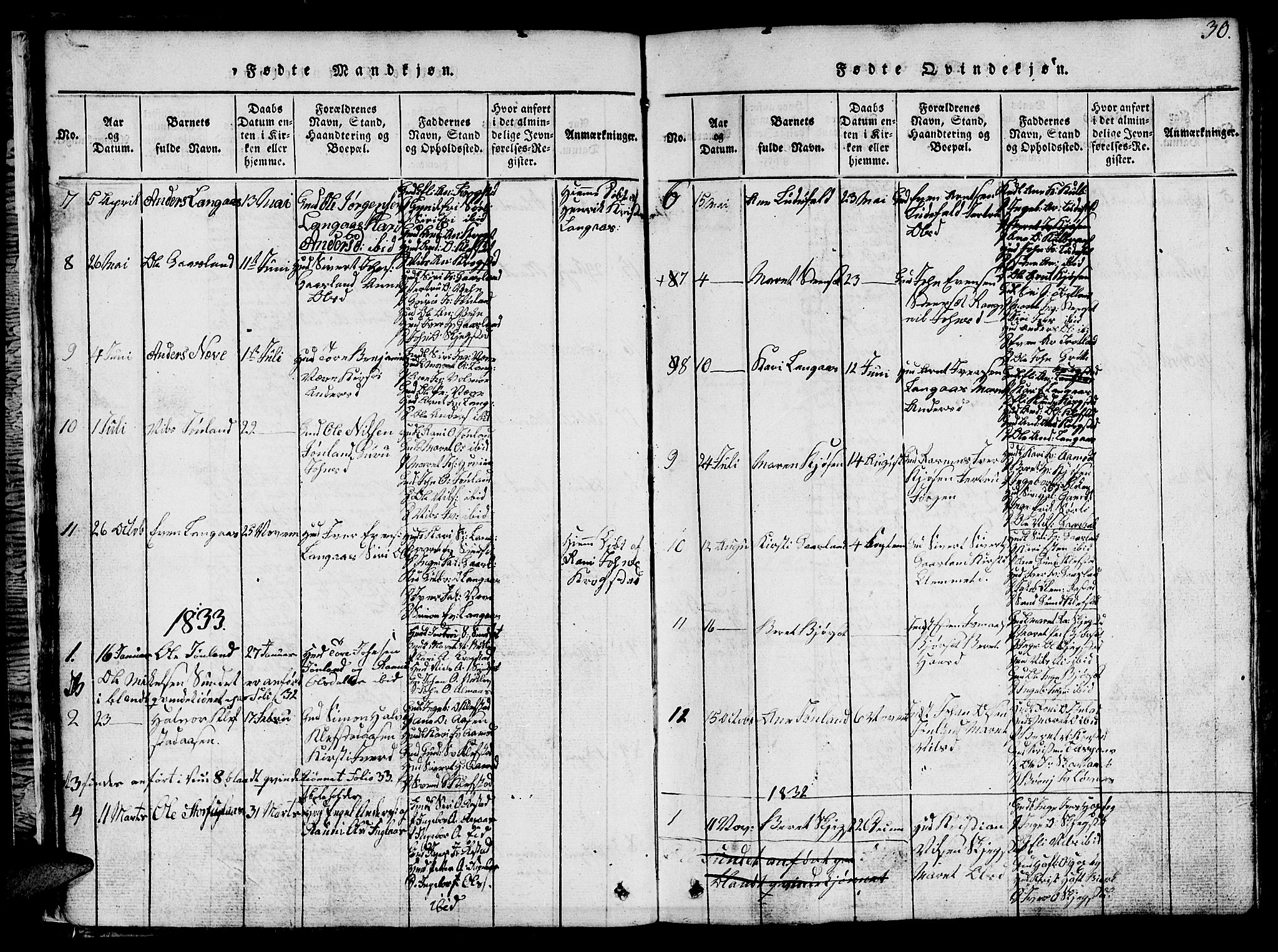 SAT, Ministerialprotokoller, klokkerbøker og fødselsregistre - Sør-Trøndelag, 694/L1130: Klokkerbok nr. 694C02, 1816-1857, s. 30