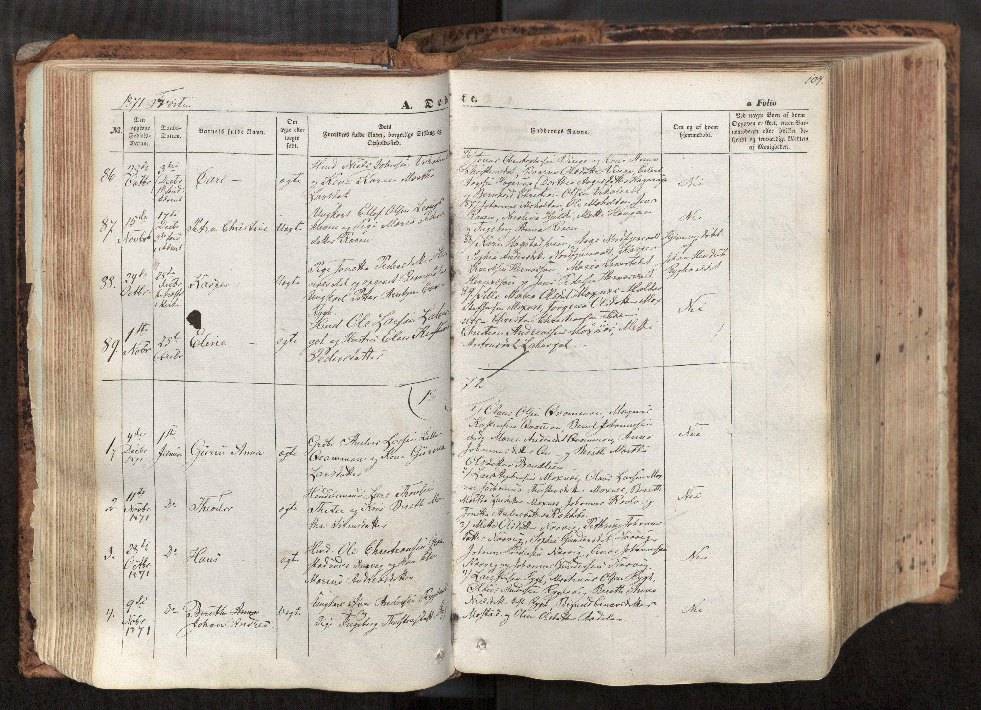 SAT, Ministerialprotokoller, klokkerbøker og fødselsregistre - Nord-Trøndelag, 713/L0116: Ministerialbok nr. 713A07, 1850-1877, s. 104
