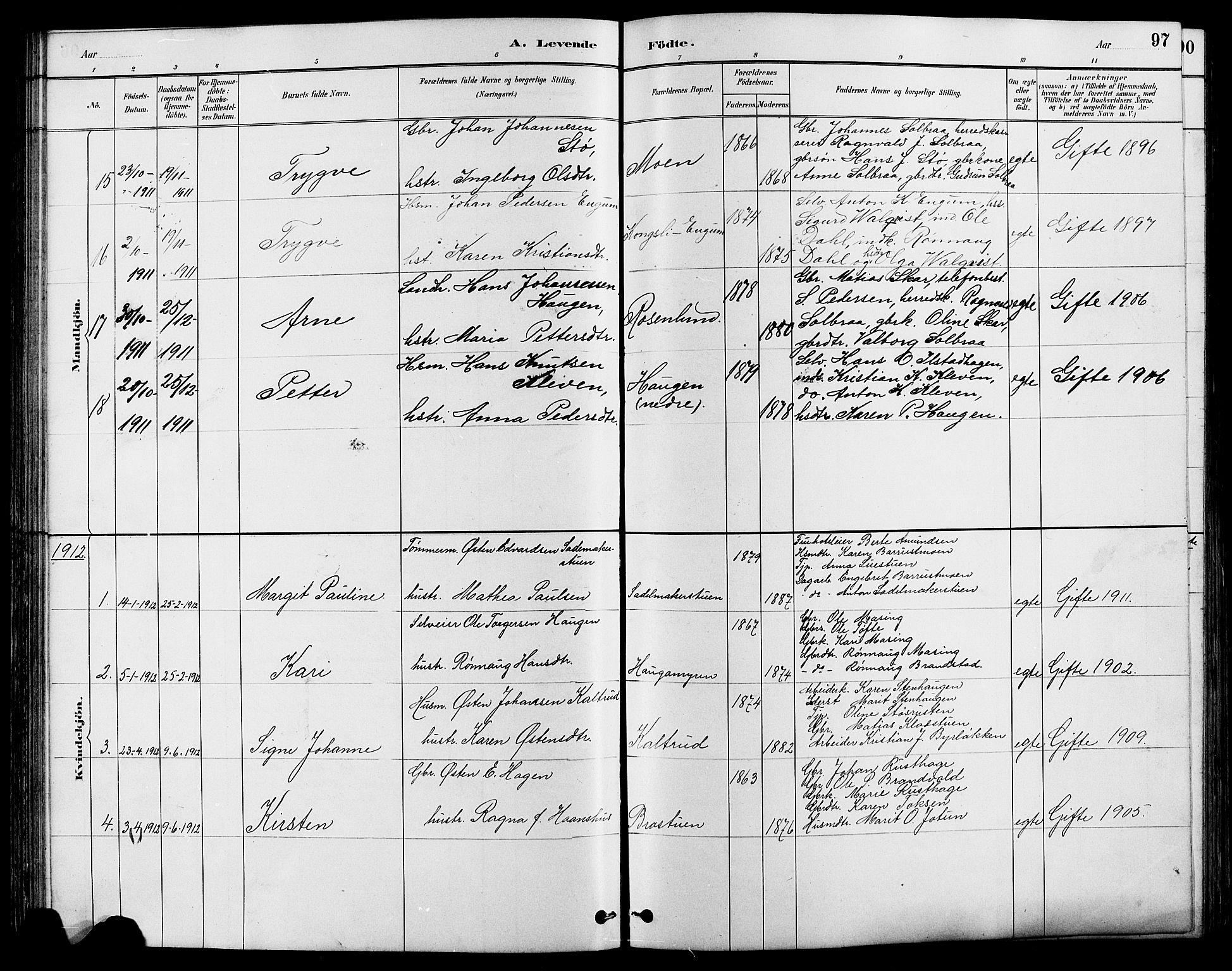 SAH, Nord-Fron prestekontor, Klokkerbok nr. 4, 1884-1914, s. 97