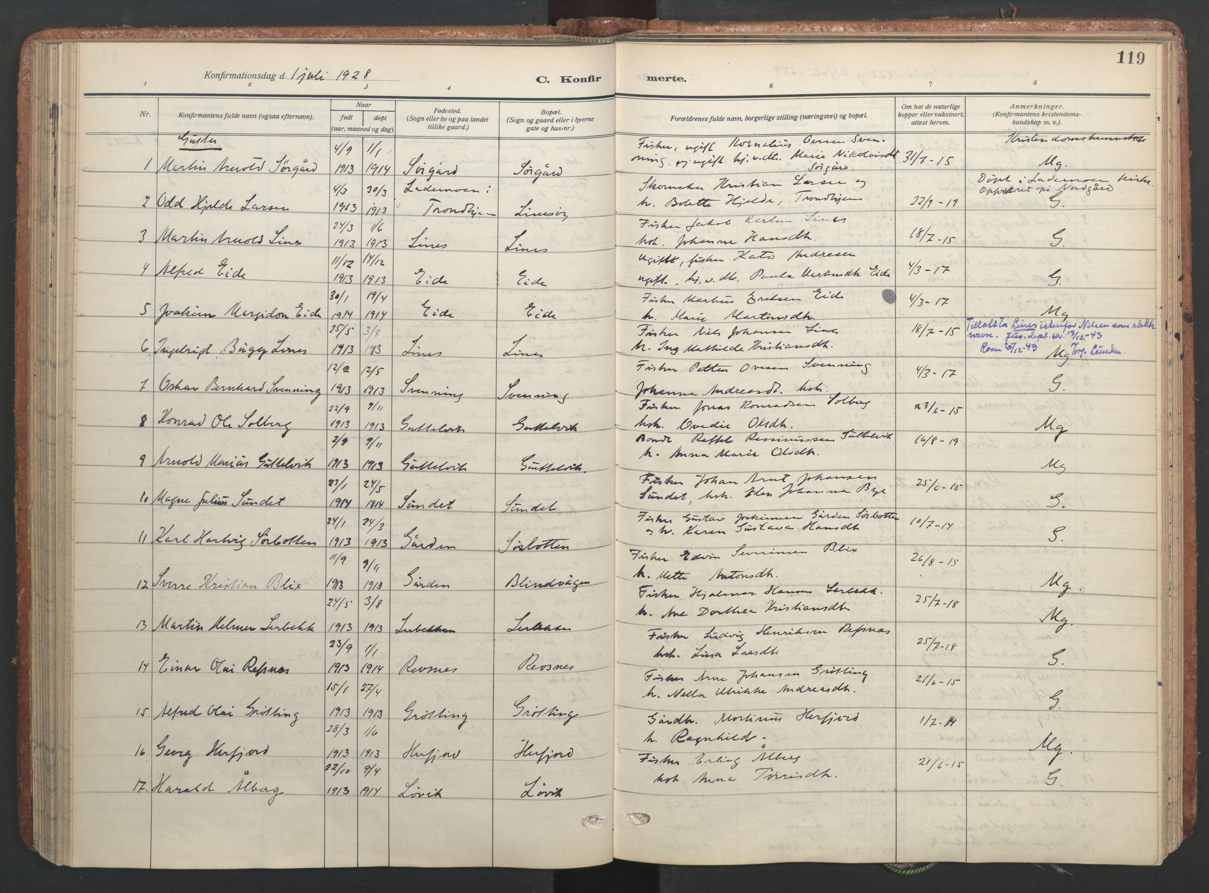 SAT, Ministerialprotokoller, klokkerbøker og fødselsregistre - Sør-Trøndelag, 656/L0694: Ministerialbok nr. 656A03, 1914-1931, s. 119
