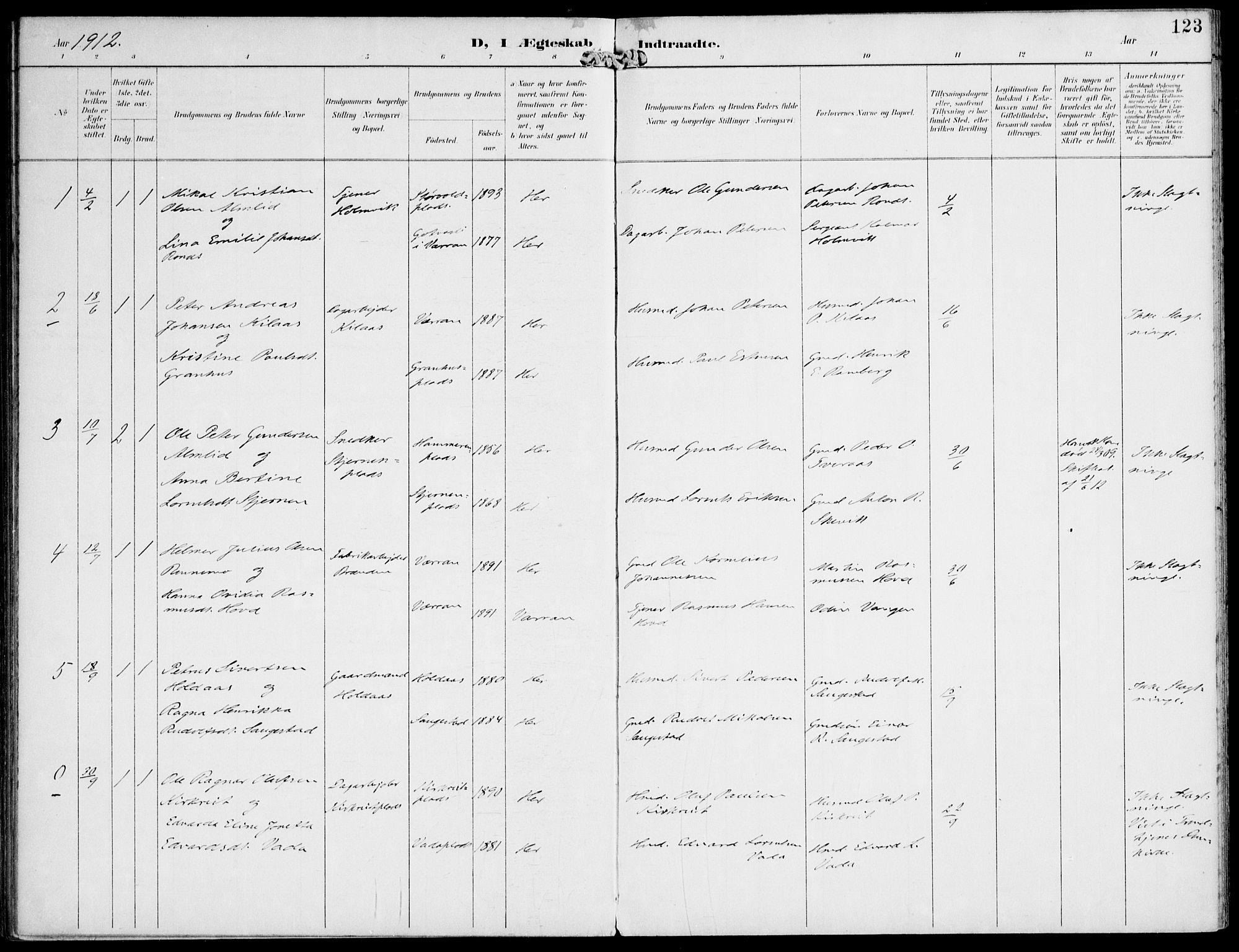 SAT, Ministerialprotokoller, klokkerbøker og fødselsregistre - Nord-Trøndelag, 745/L0430: Ministerialbok nr. 745A02, 1895-1913, s. 123