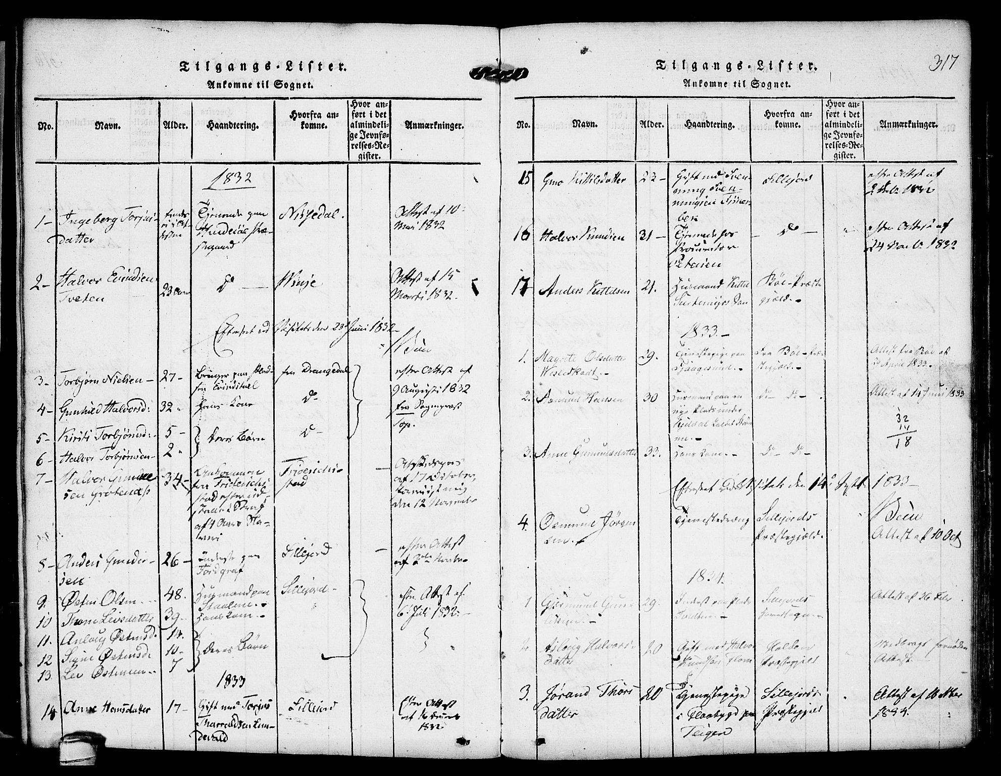SAKO, Kviteseid kirkebøker, F/Fa/L0005: Ministerialbok nr. I 5, 1815-1836, s. 317