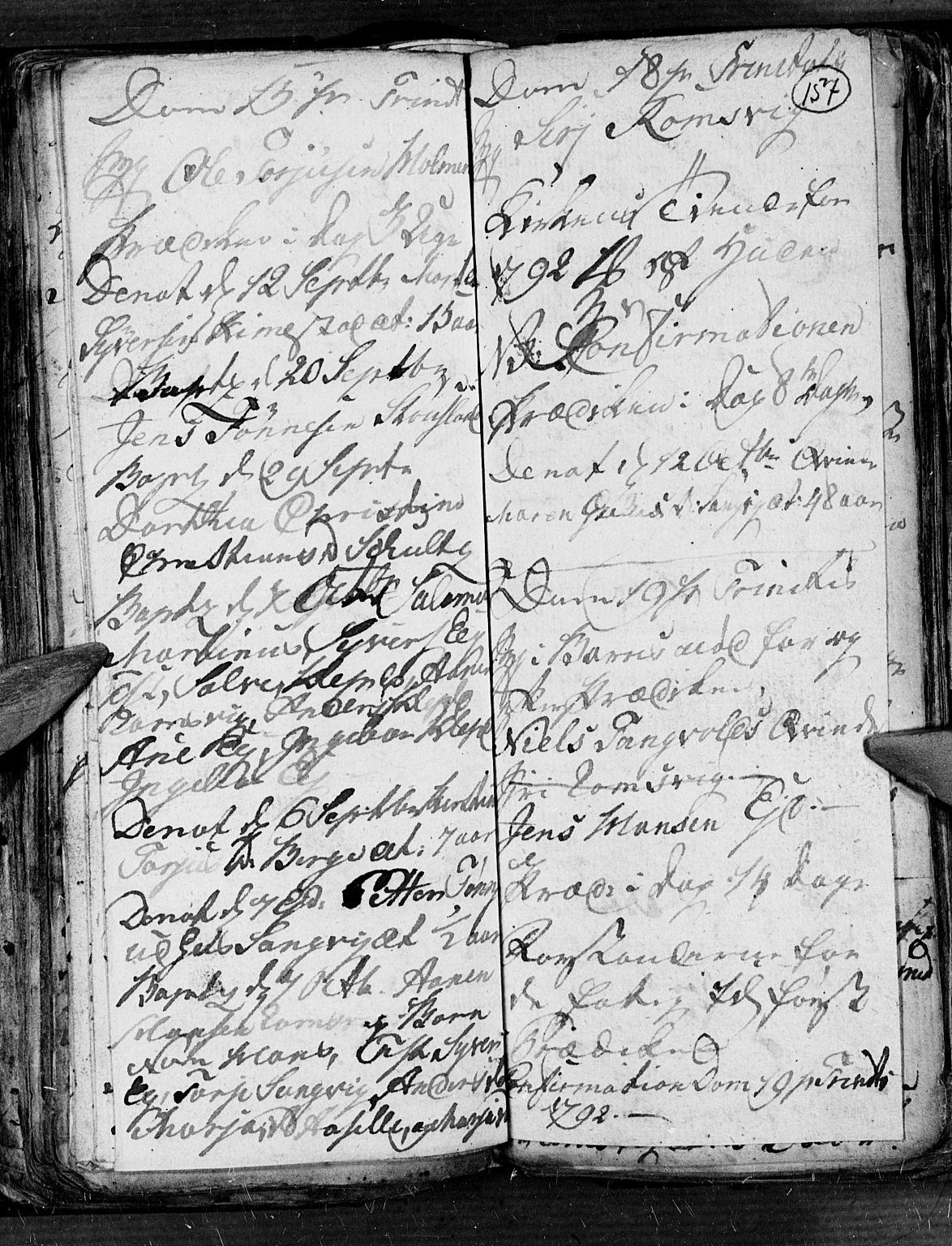 SAK, Søgne sokneprestkontor, F/Fb/Fbb/L0001: Klokkerbok nr. B 1, 1779-1802, s. 157
