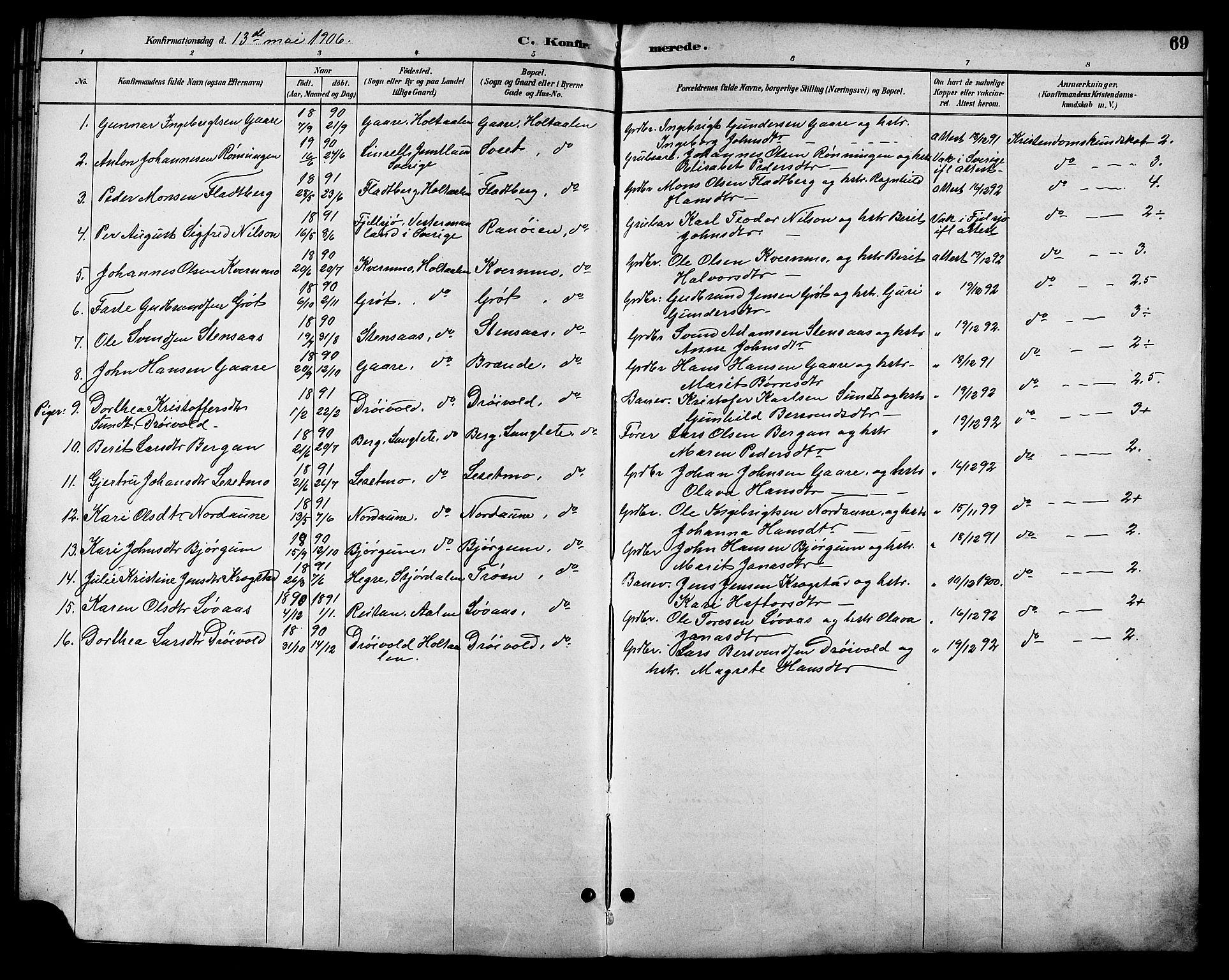 SAT, Ministerialprotokoller, klokkerbøker og fødselsregistre - Sør-Trøndelag, 685/L0978: Klokkerbok nr. 685C03, 1891-1907, s. 69