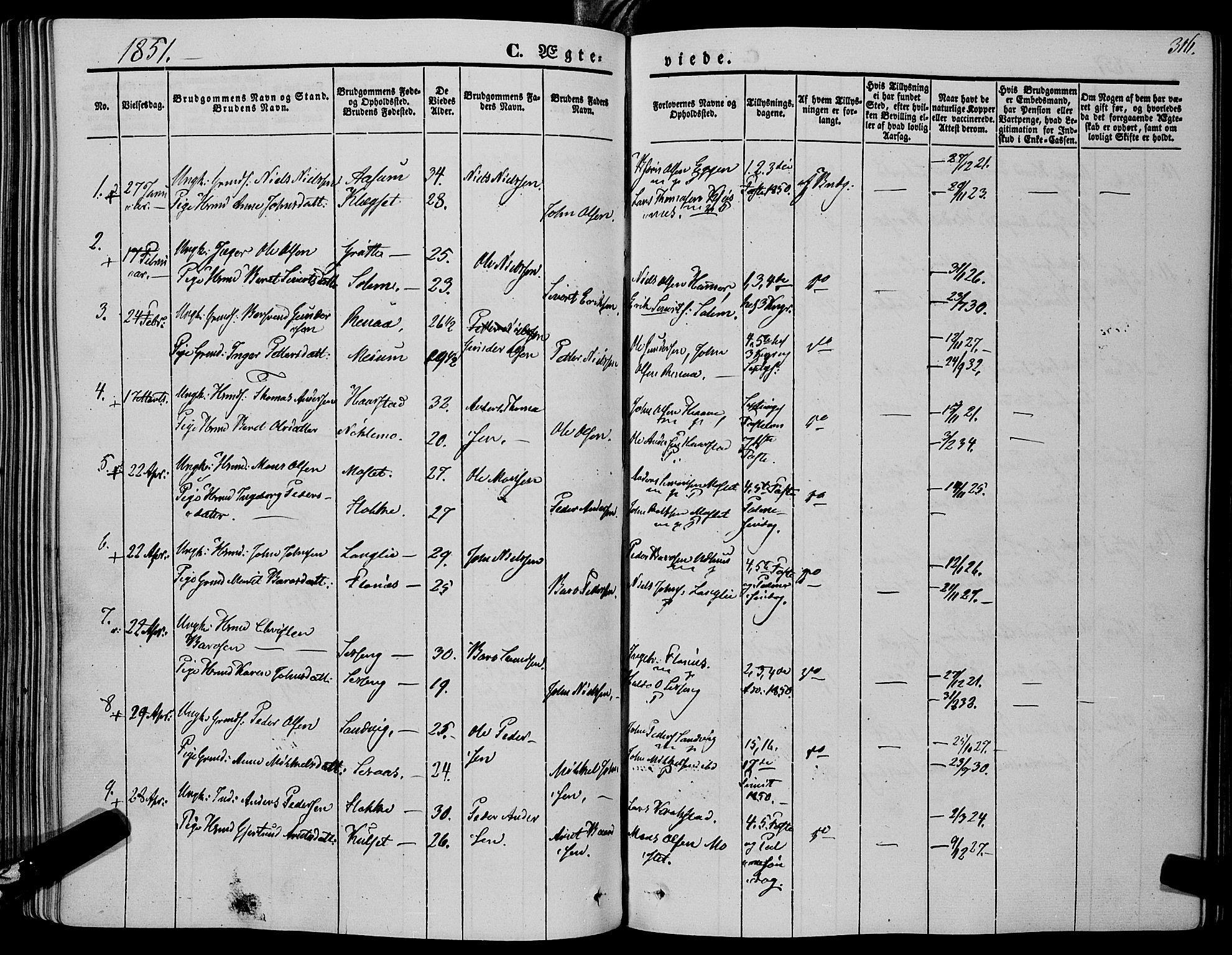 SAT, Ministerialprotokoller, klokkerbøker og fødselsregistre - Sør-Trøndelag, 695/L1145: Ministerialbok nr. 695A06 /1, 1843-1859, s. 316