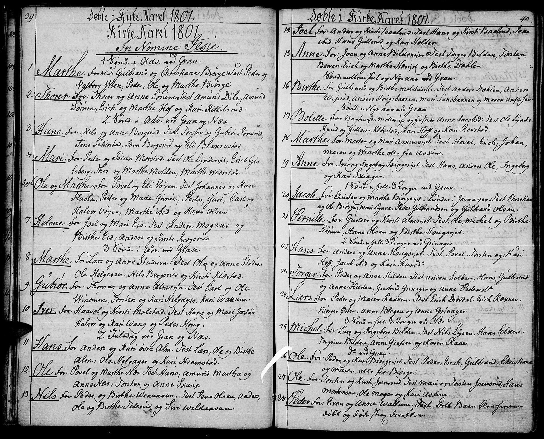 SAH, Gran prestekontor, Ministerialbok nr. 8, 1798-1811, s. 39-40