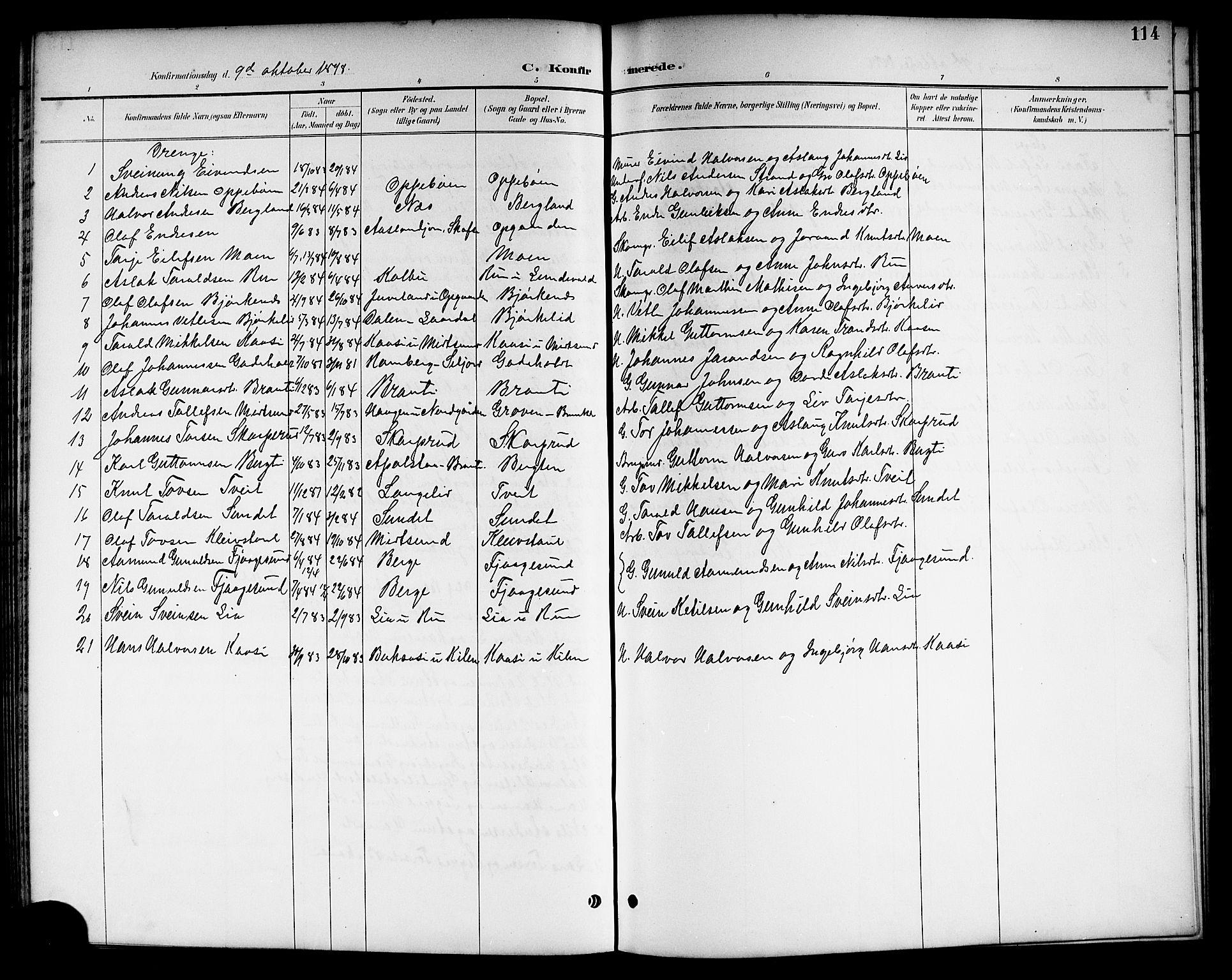 SAKO, Kviteseid kirkebøker, G/Ga/L0002: Klokkerbok nr. I 2, 1893-1918, s. 114