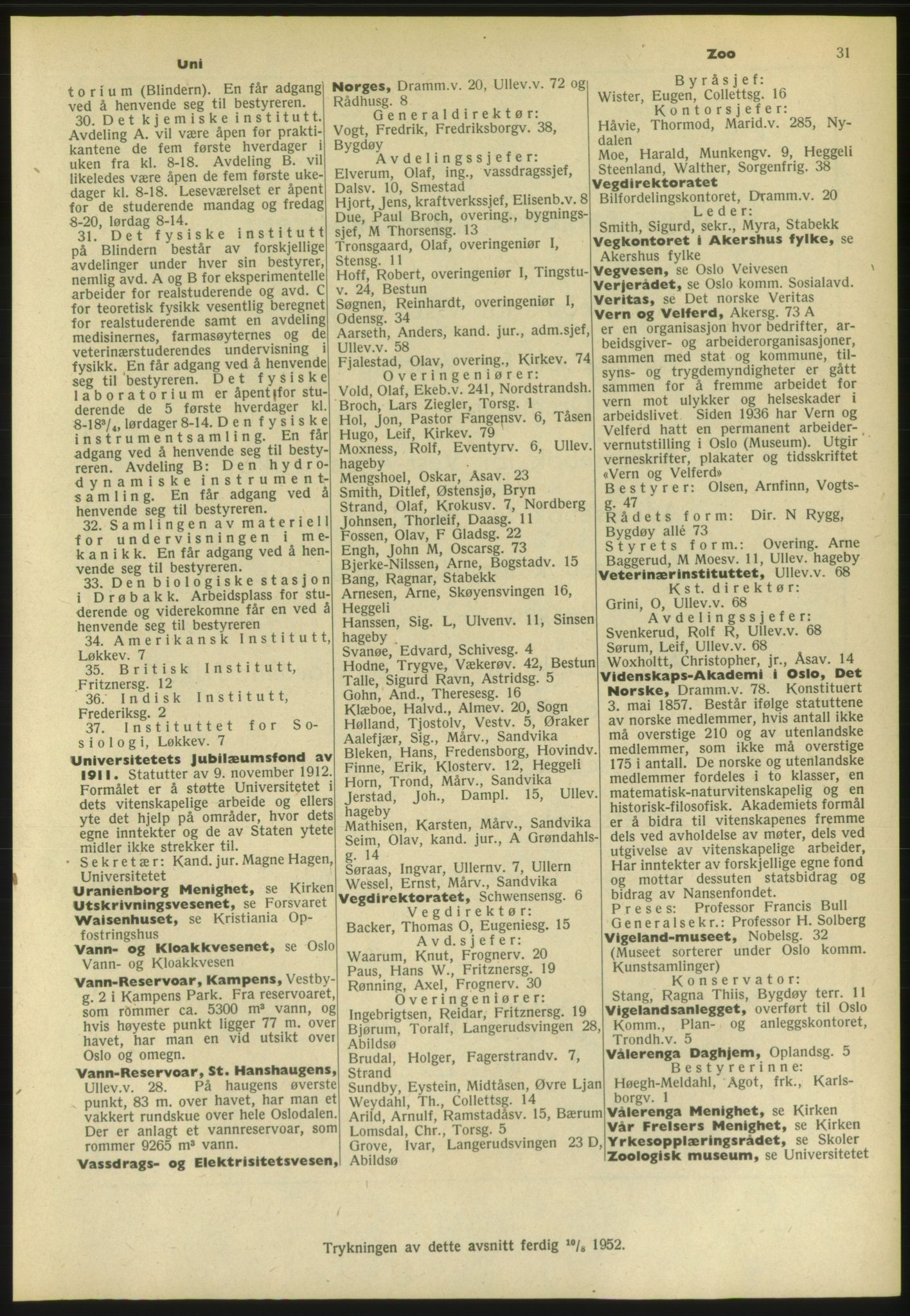 PUBL, Kristiania/Oslo adressebok, 1952, s. 31