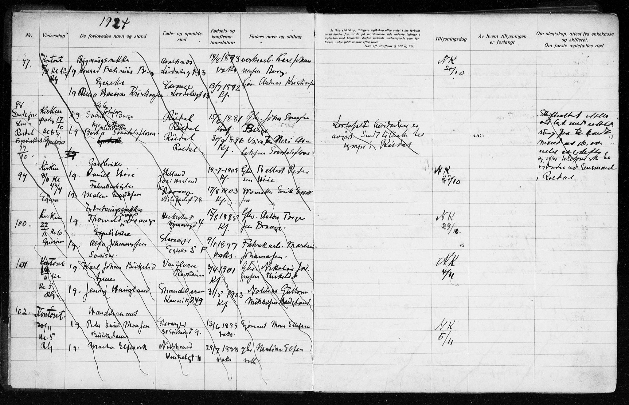 SAST, Domkirken sokneprestkontor, 70/705BA/L0007: Lysningsprotokoll nr. 705.BA.7, 1924-1936