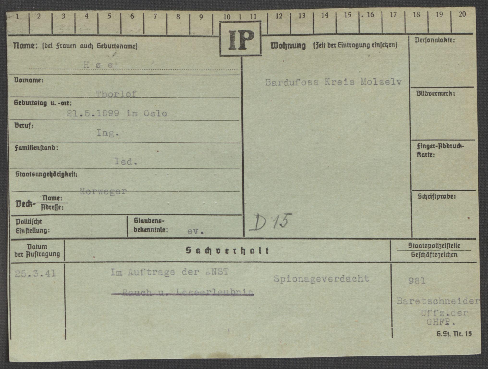 RA, Befehlshaber der Sicherheitspolizei und des SD, E/Ea/Eaa/L0005: Register over norske fanger i Møllergata 19: Hø-Kj, 1940-1945, s. 2