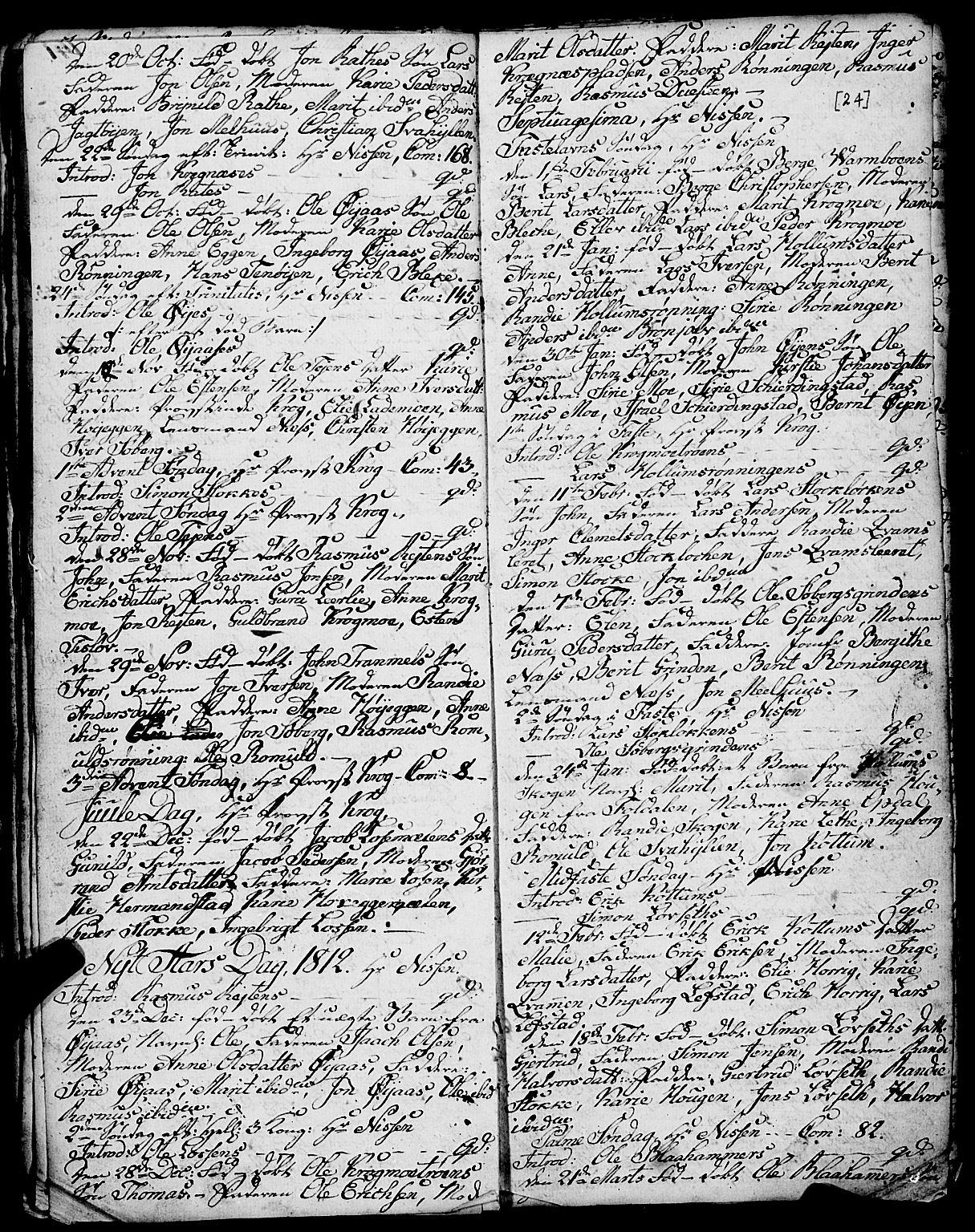 SAT, Ministerialprotokoller, klokkerbøker og fødselsregistre - Sør-Trøndelag, 691/L1091: Klokkerbok nr. 691C02, 1802-1815, s. 24