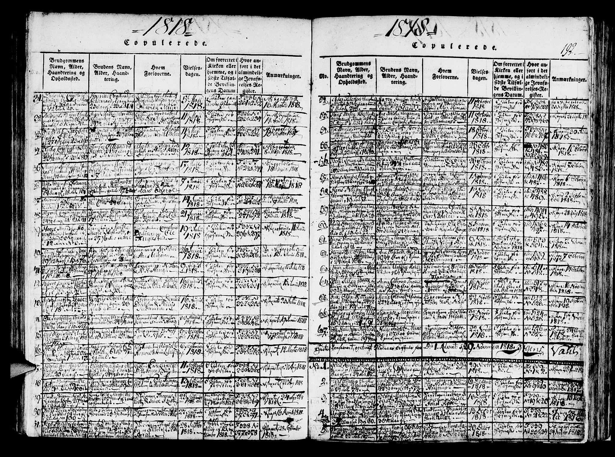 SAB, Korskirken Sokneprestembete, H/Haa/L0013: Ministerialbok nr. A 13, 1815-1822, s. 192