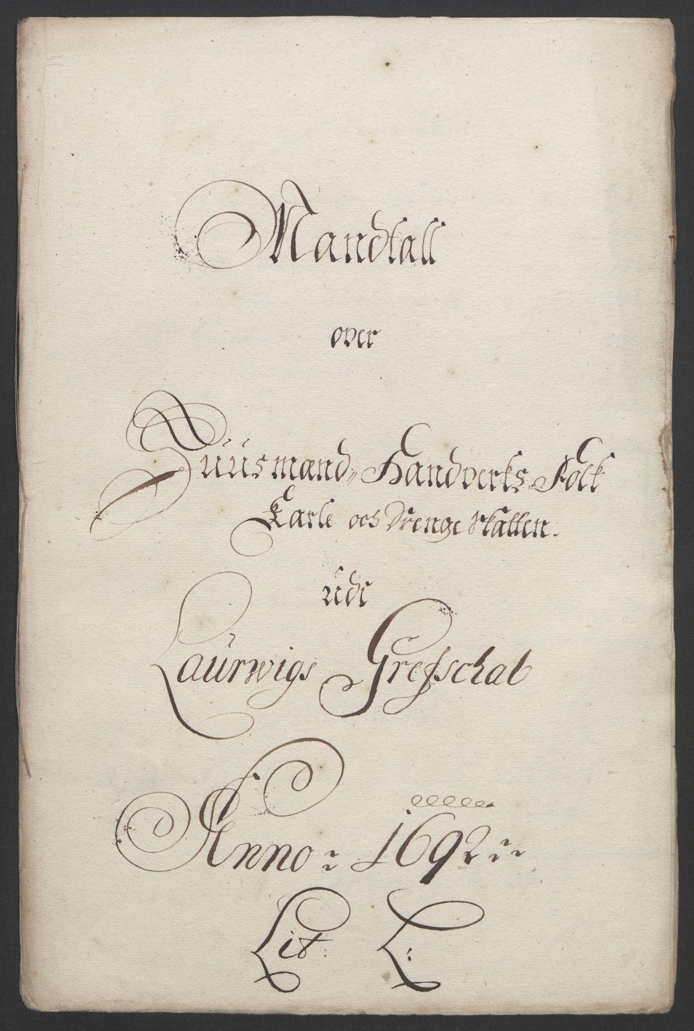RA, Rentekammeret inntil 1814, Reviderte regnskaper, Fogderegnskap, R33/L1973: Fogderegnskap Larvik grevskap, 1692, s. 139