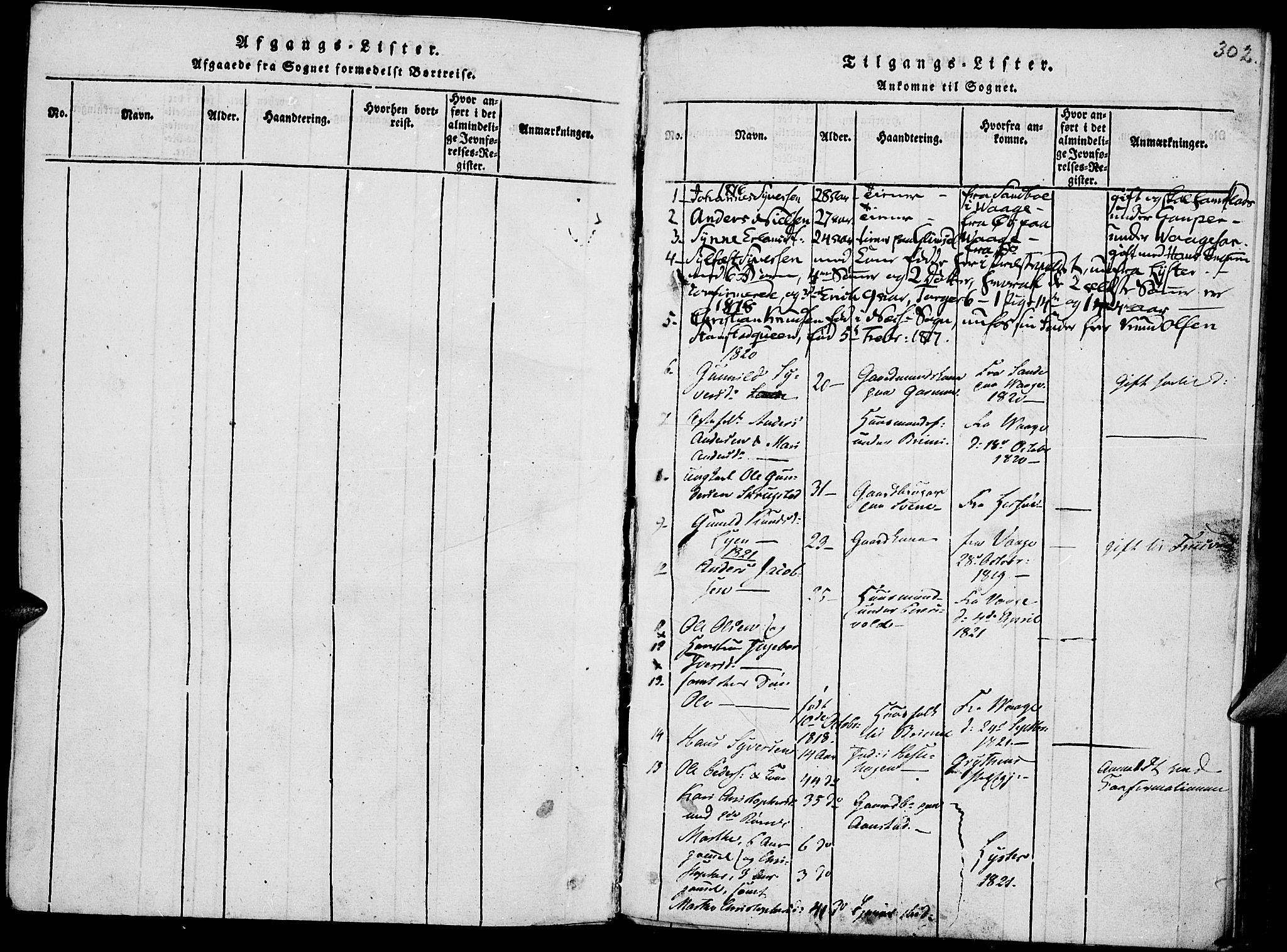 SAH, Lom prestekontor, K/L0004: Ministerialbok nr. 4, 1815-1825, s. 302