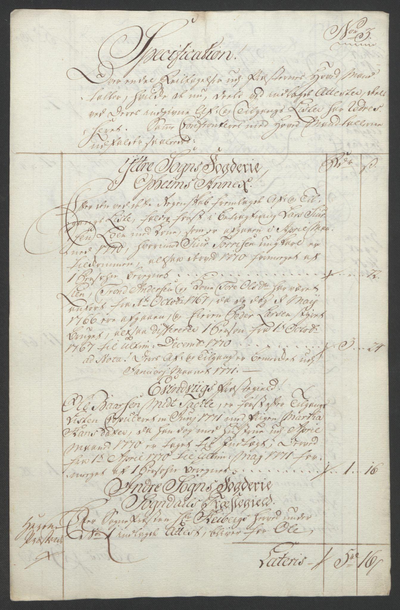 RA, Rentekammeret inntil 1814, Realistisk ordnet avdeling, Ol/L0018: [Gg 10]: Ekstraskatten, 23.09.1762. Sogn, 1762-1772, s. 340