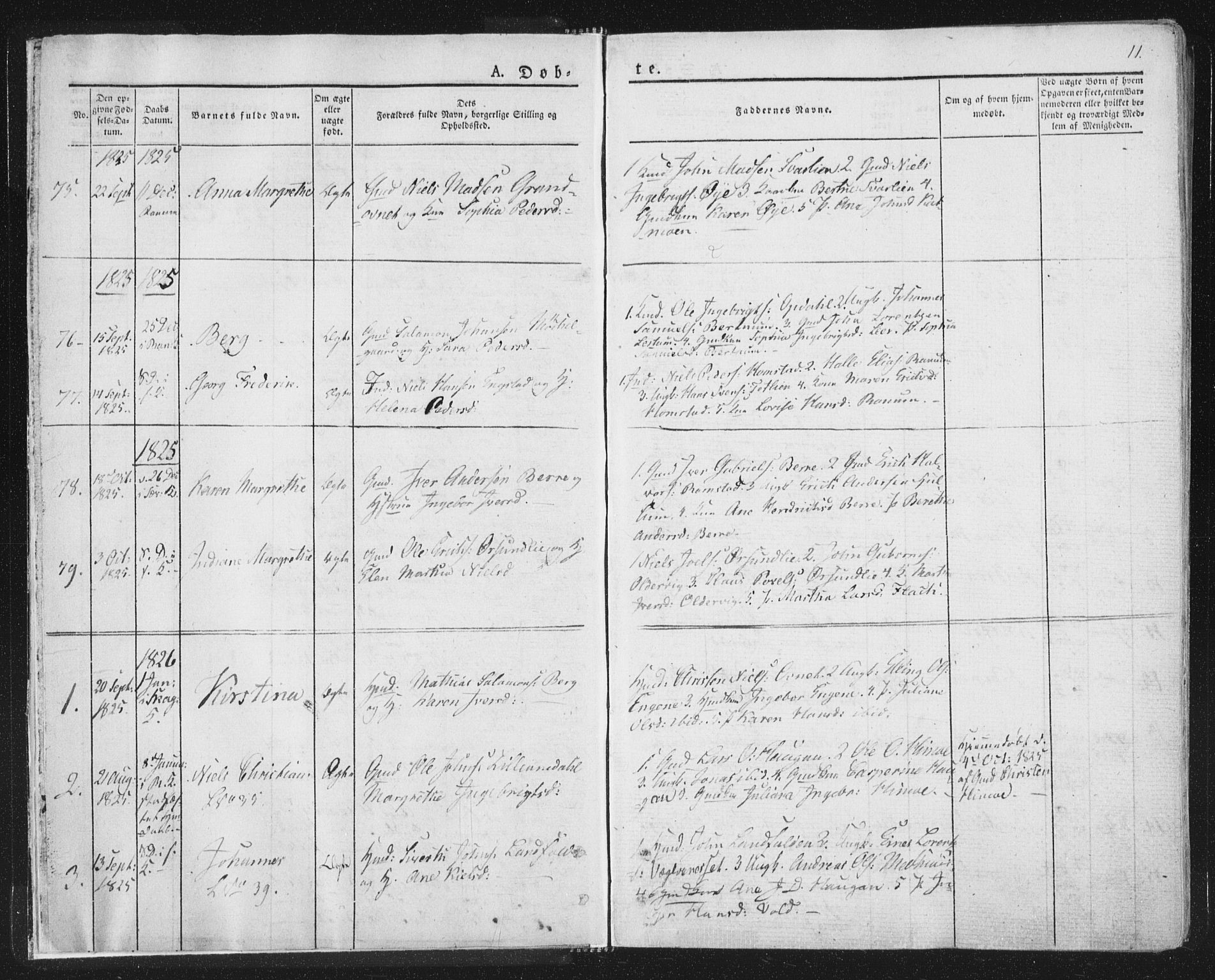 SAT, Ministerialprotokoller, klokkerbøker og fødselsregistre - Nord-Trøndelag, 764/L0551: Ministerialbok nr. 764A07a, 1824-1864, s. 11