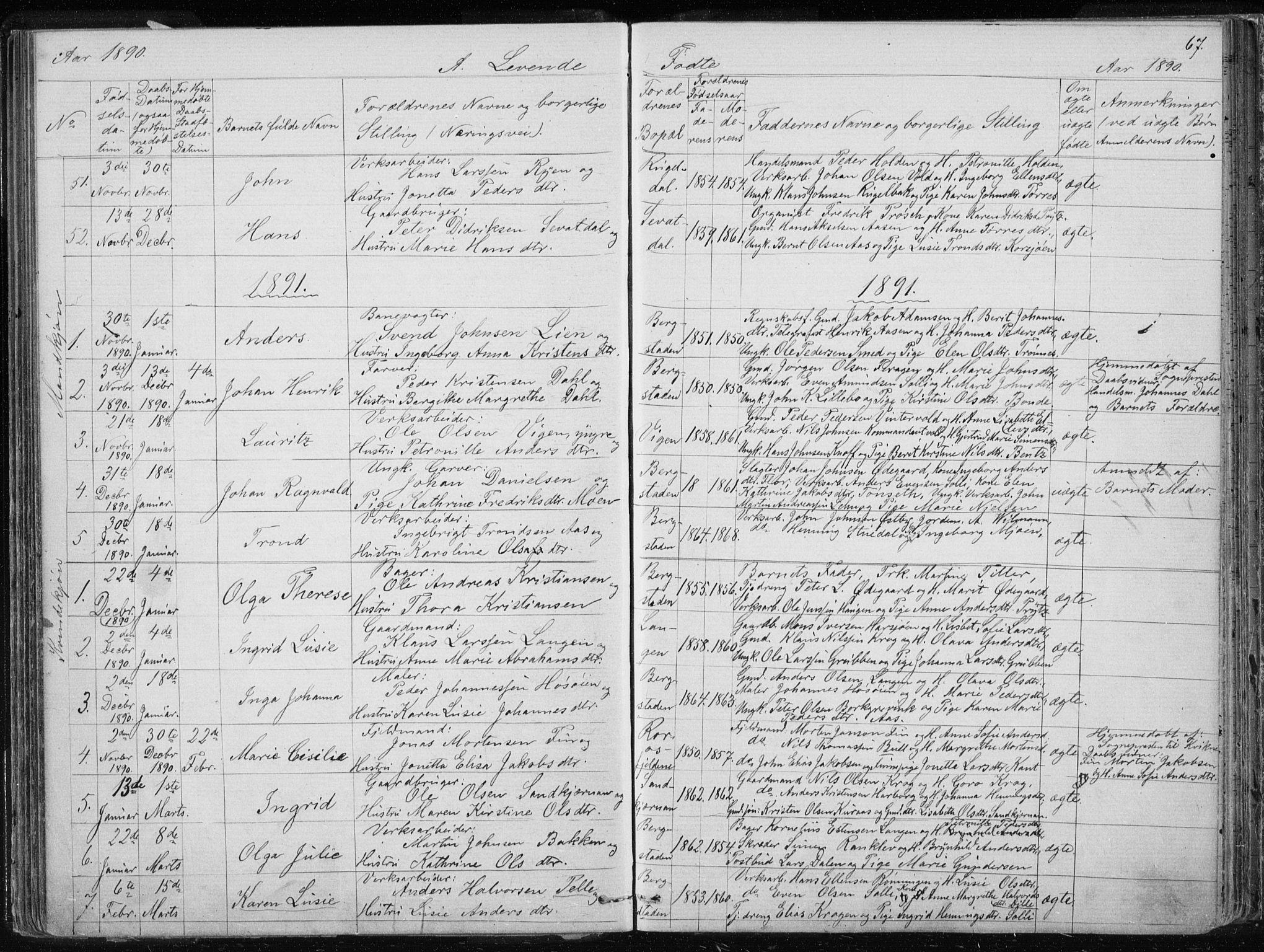 SAT, Ministerialprotokoller, klokkerbøker og fødselsregistre - Sør-Trøndelag, 681/L0940: Klokkerbok nr. 681C04, 1880-1895, s. 67