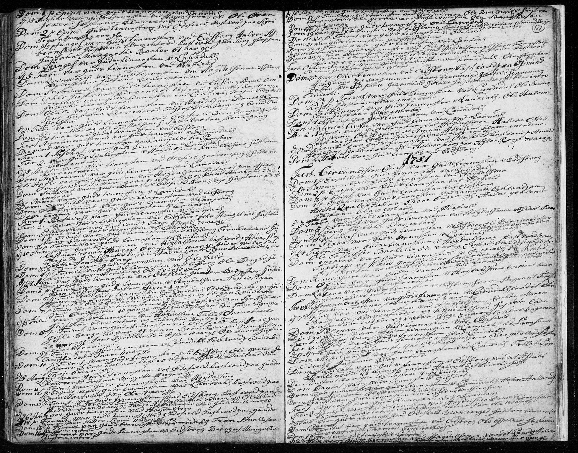 SAKO, Lårdal kirkebøker, F/Fa/L0003: Ministerialbok nr. I 3, 1754-1790, s. 121
