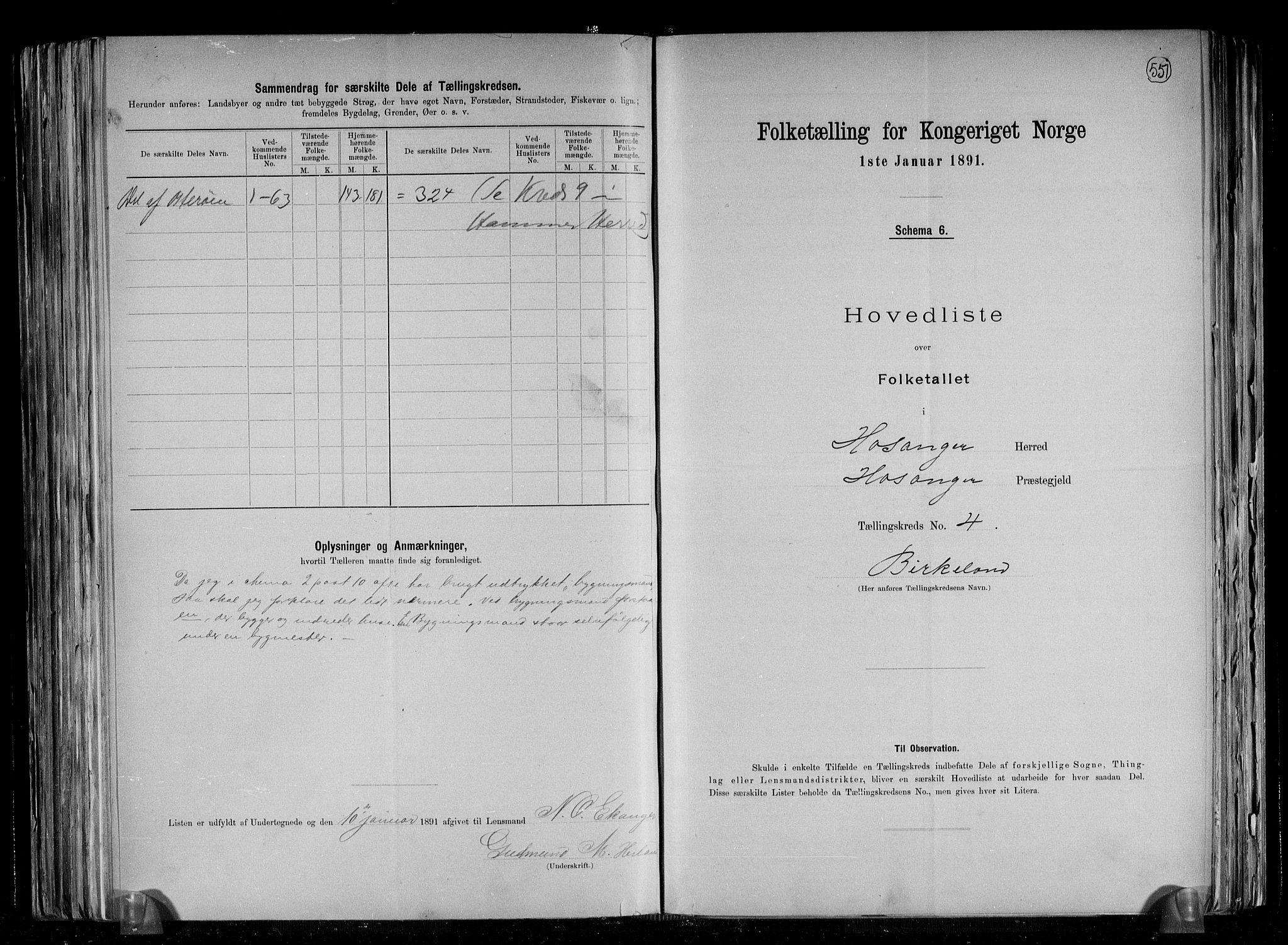 RA, Folketelling 1891 for 1253 Hosanger herred, 1891, s. 10