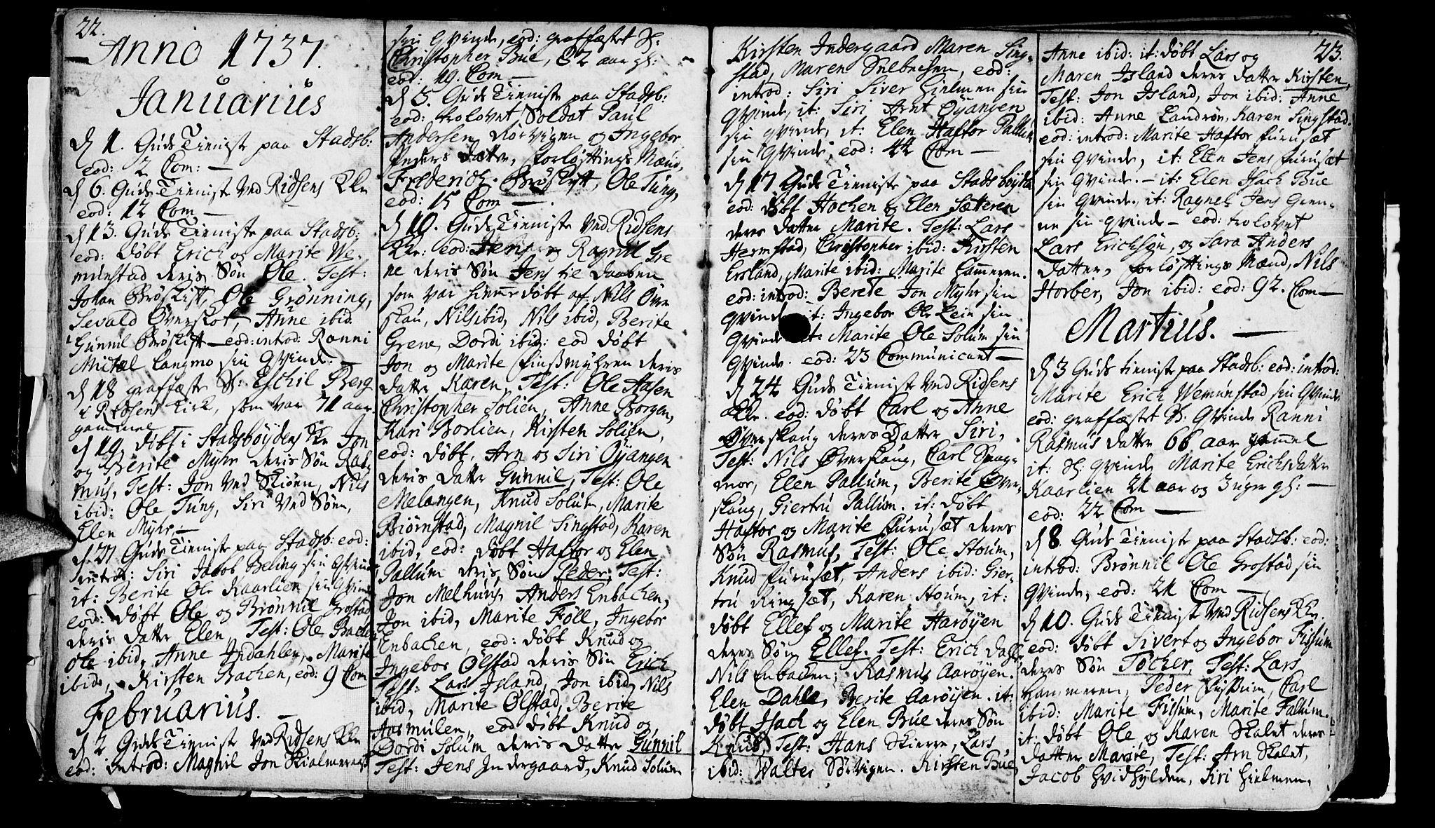 SAT, Ministerialprotokoller, klokkerbøker og fødselsregistre - Sør-Trøndelag, 646/L0604: Ministerialbok nr. 646A02, 1735-1750, s. 22-23