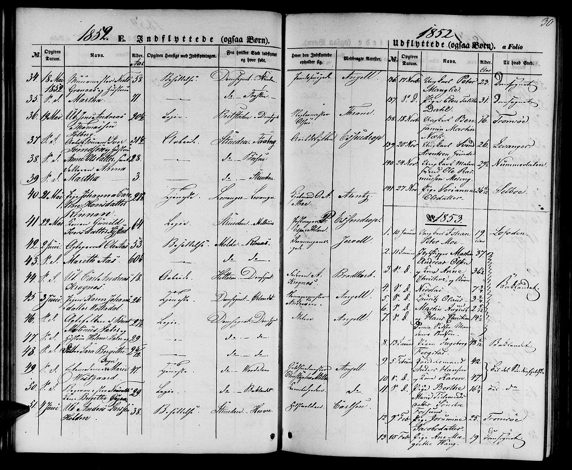 SAT, Ministerialprotokoller, klokkerbøker og fødselsregistre - Sør-Trøndelag, 602/L0113: Ministerialbok nr. 602A11, 1849-1861, s. 30