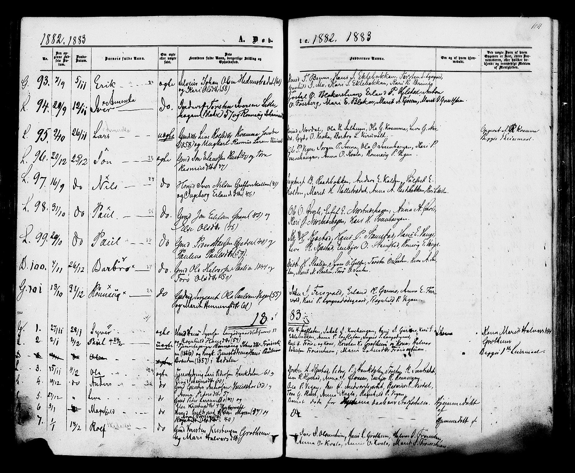 SAH, Lom prestekontor, K/L0007: Ministerialbok nr. 7, 1863-1884, s. 104