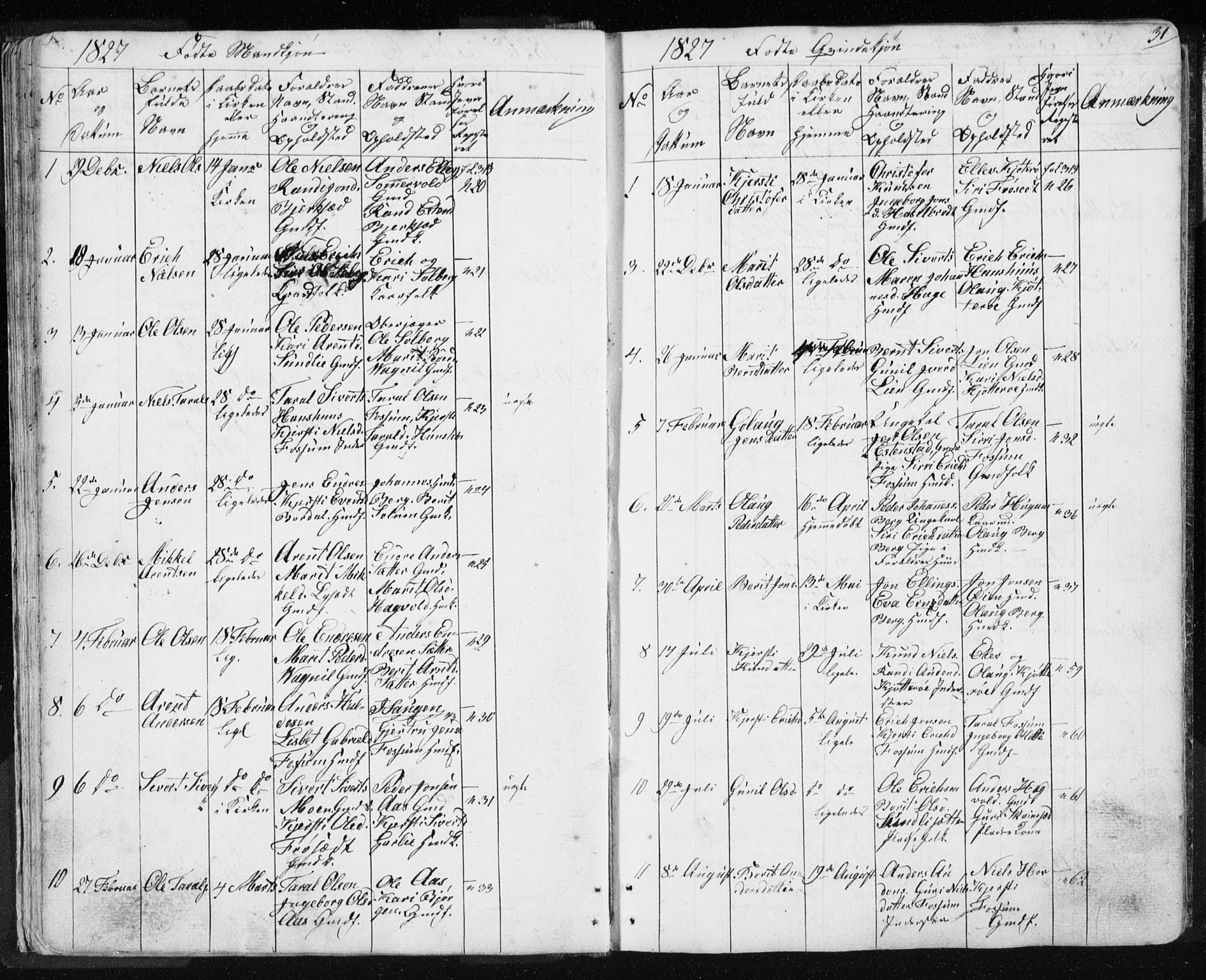 SAT, Ministerialprotokoller, klokkerbøker og fødselsregistre - Sør-Trøndelag, 689/L1043: Klokkerbok nr. 689C02, 1816-1892, s. 31