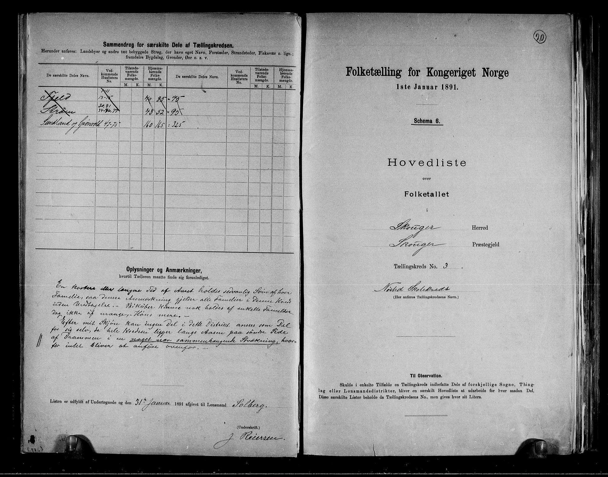 RA, Folketelling 1891 for 0712 Skoger herred, 1891, s. 8