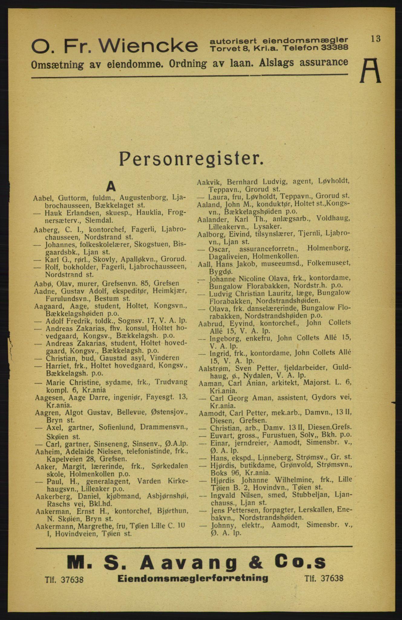 RA, Aker adressebok/adressekalender (publikasjon)*, 1922, s. 13