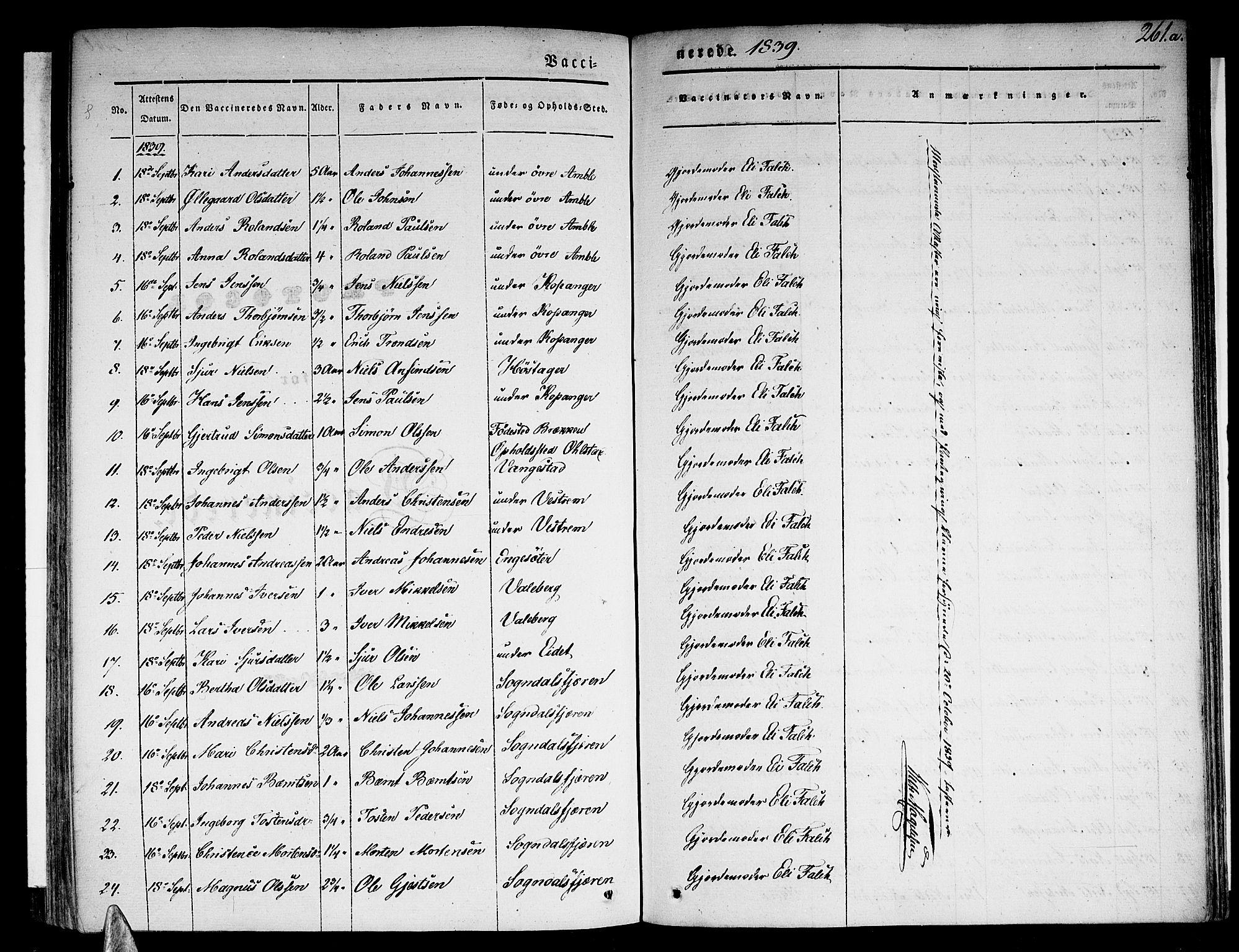 SAB, Sogndal Sokneprestembete, H/Haa/Haaa/L0011: Ministerialbok nr. A 11, 1839-1847, s. 261