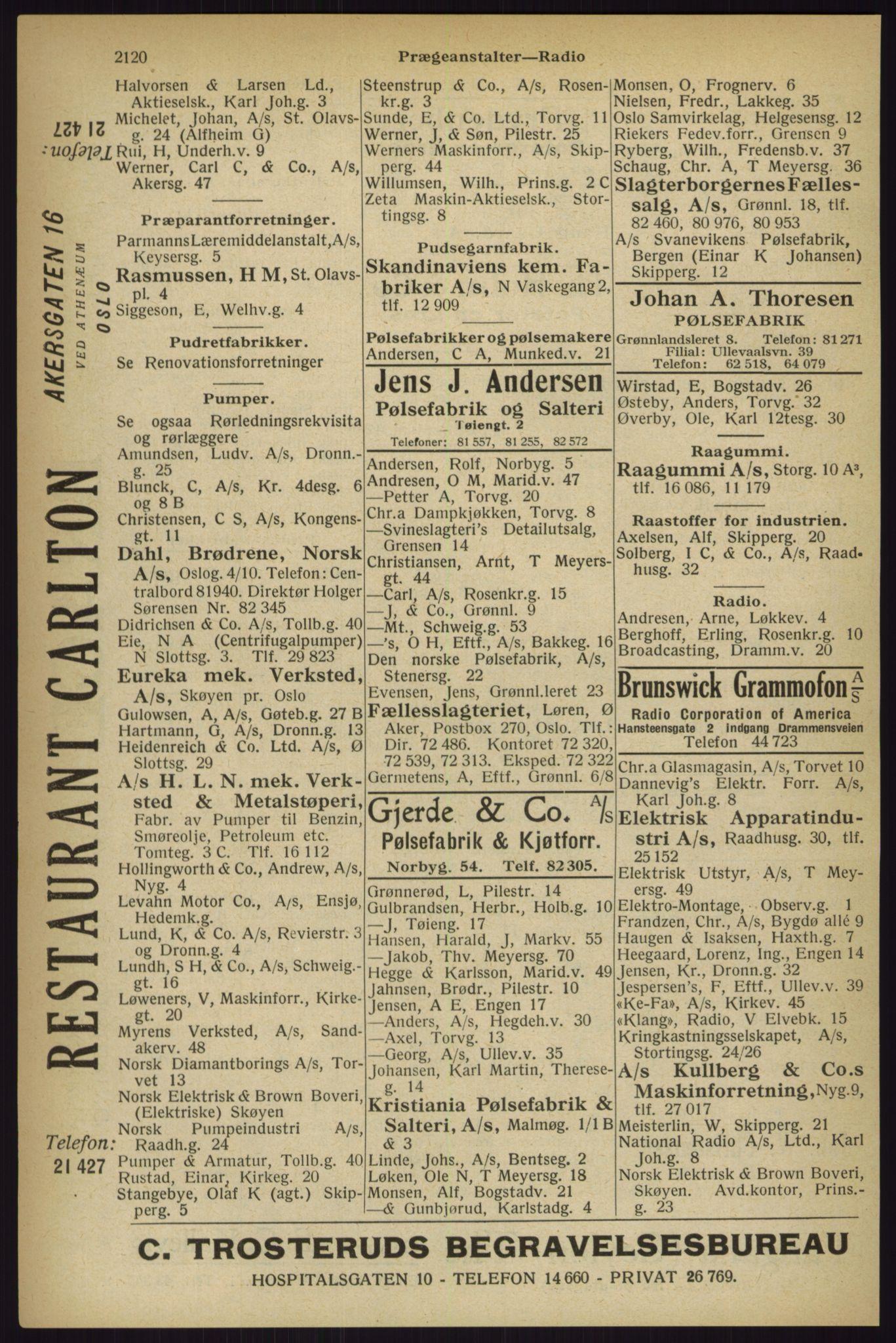 RA, Oslo adressebok (publikasjon)*, 1927, s. 2120
