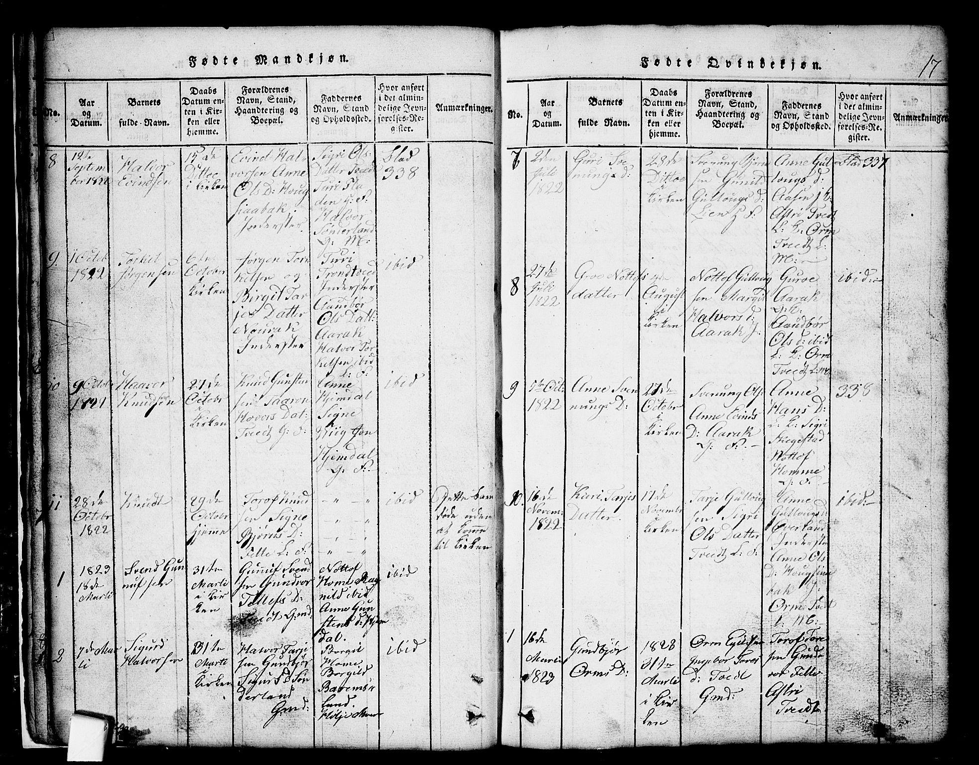 SAKO, Nissedal kirkebøker, G/Gb/L0001: Klokkerbok nr. II 1, 1814-1862, s. 17