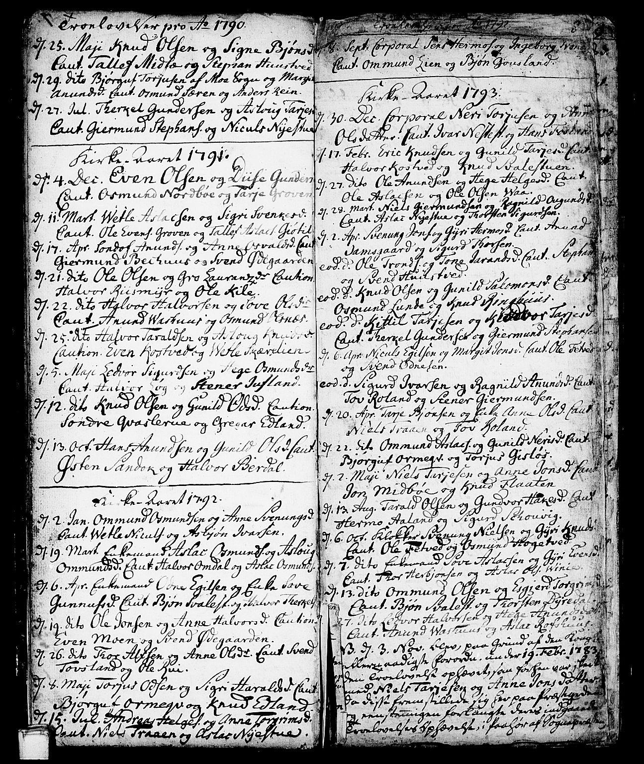 SAKO, Vinje kirkebøker, F/Fa/L0002: Ministerialbok nr. I 2, 1767-1814, s. 8