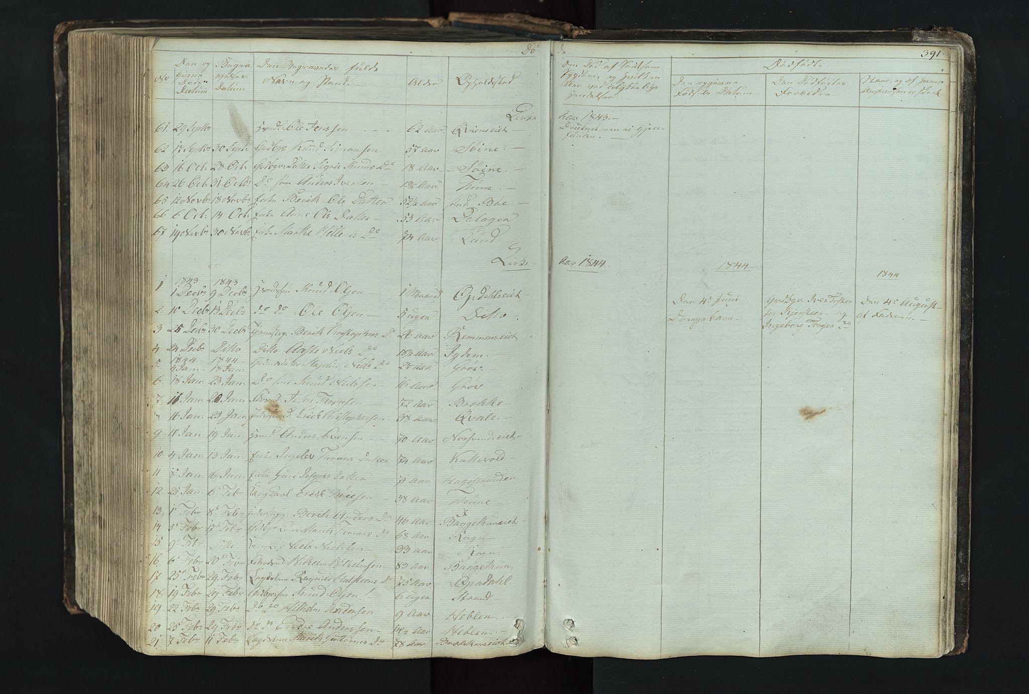 SAH, Vang prestekontor, Valdres, Klokkerbok nr. 4, 1835-1892, s. 391