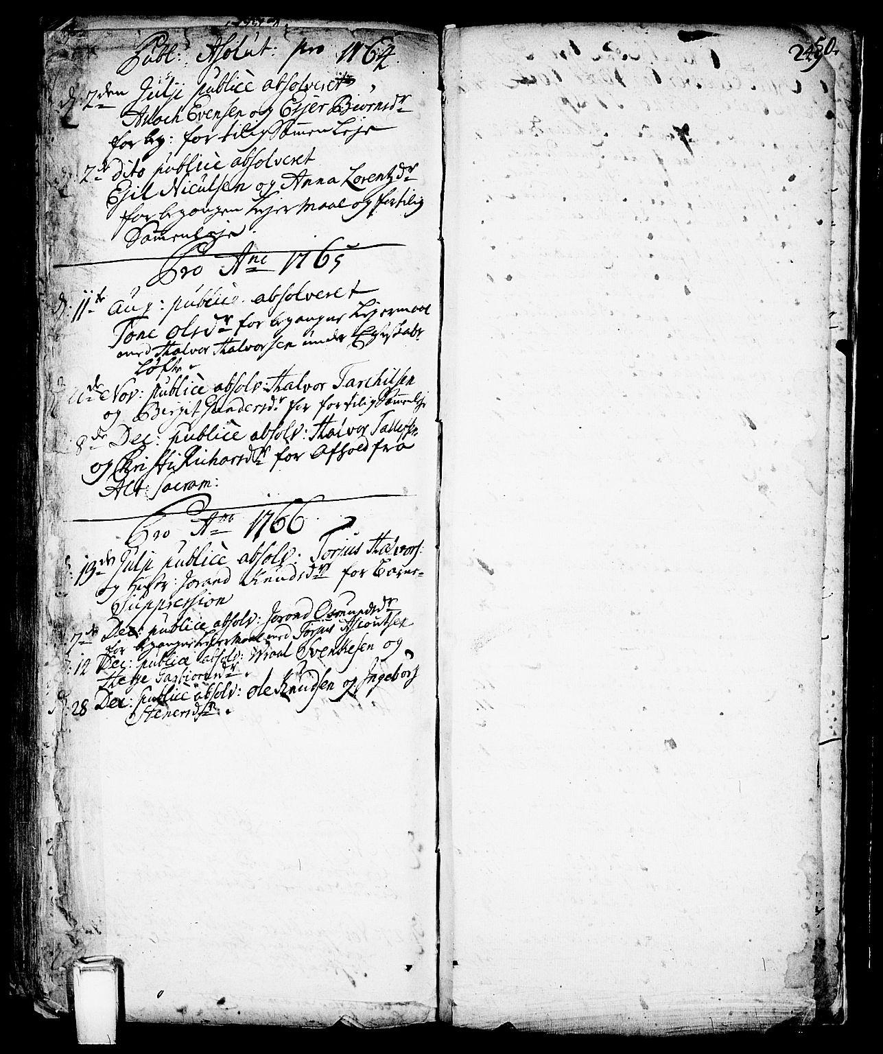 SAKO, Vinje kirkebøker, F/Fa/L0001: Ministerialbok nr. I 1, 1717-1766, s. 249