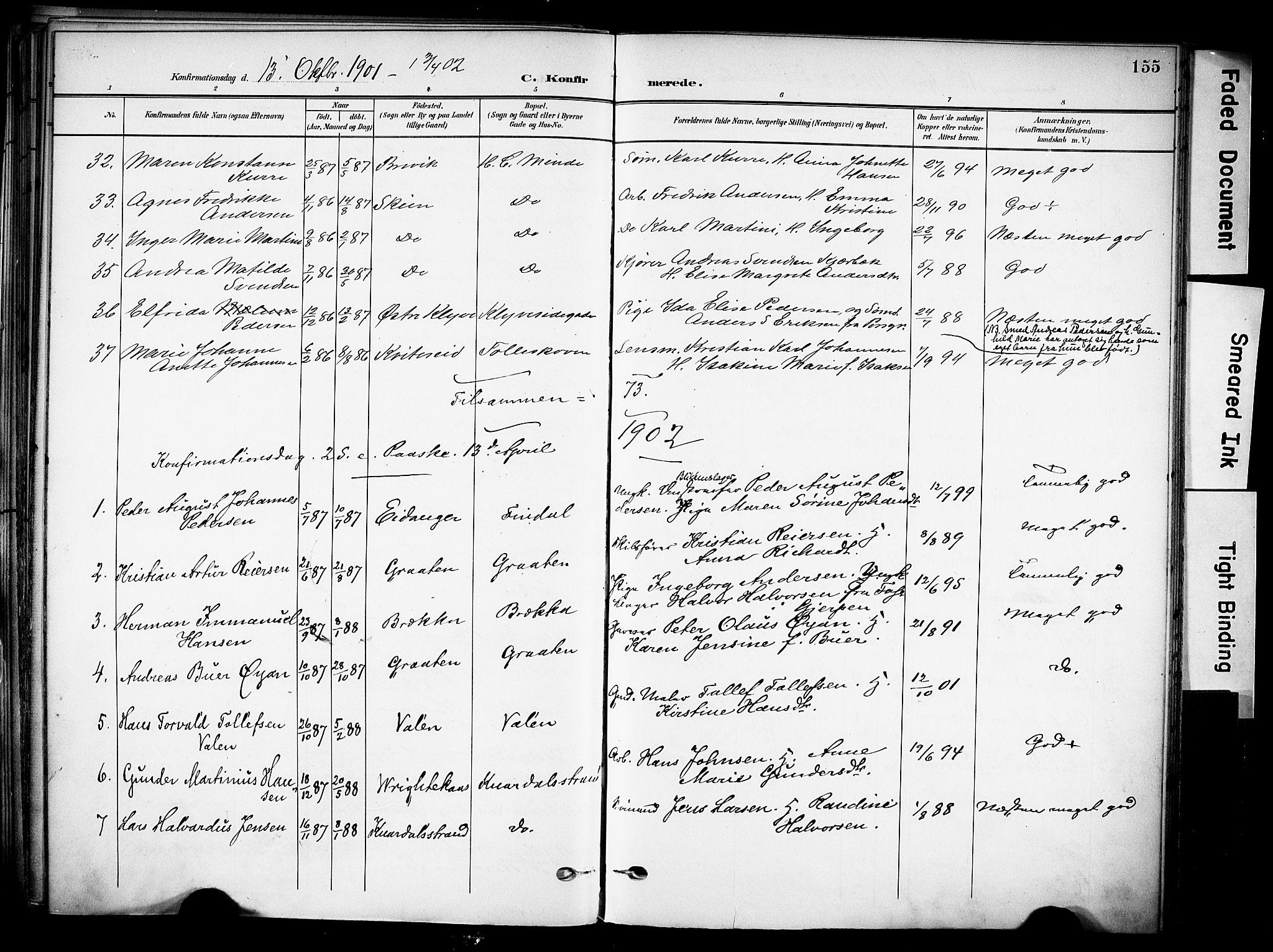 SAKO, Solum kirkebøker, F/Fa/L0011: Ministerialbok nr. I 11, 1898-1909, s. 155