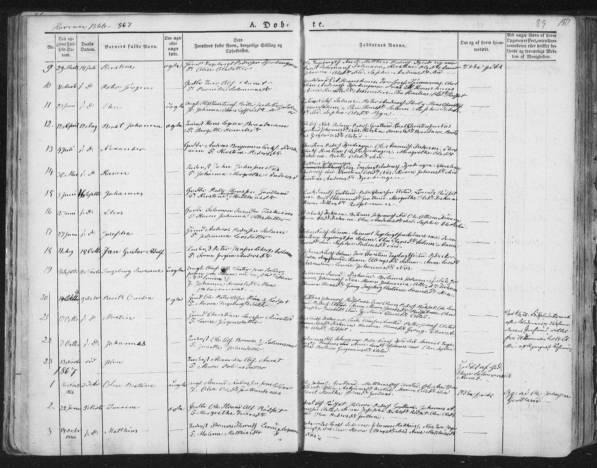SAT, Ministerialprotokoller, klokkerbøker og fødselsregistre - Nord-Trøndelag, 758/L0513: Ministerialbok nr. 758A02 /3, 1839-1868, s. 89