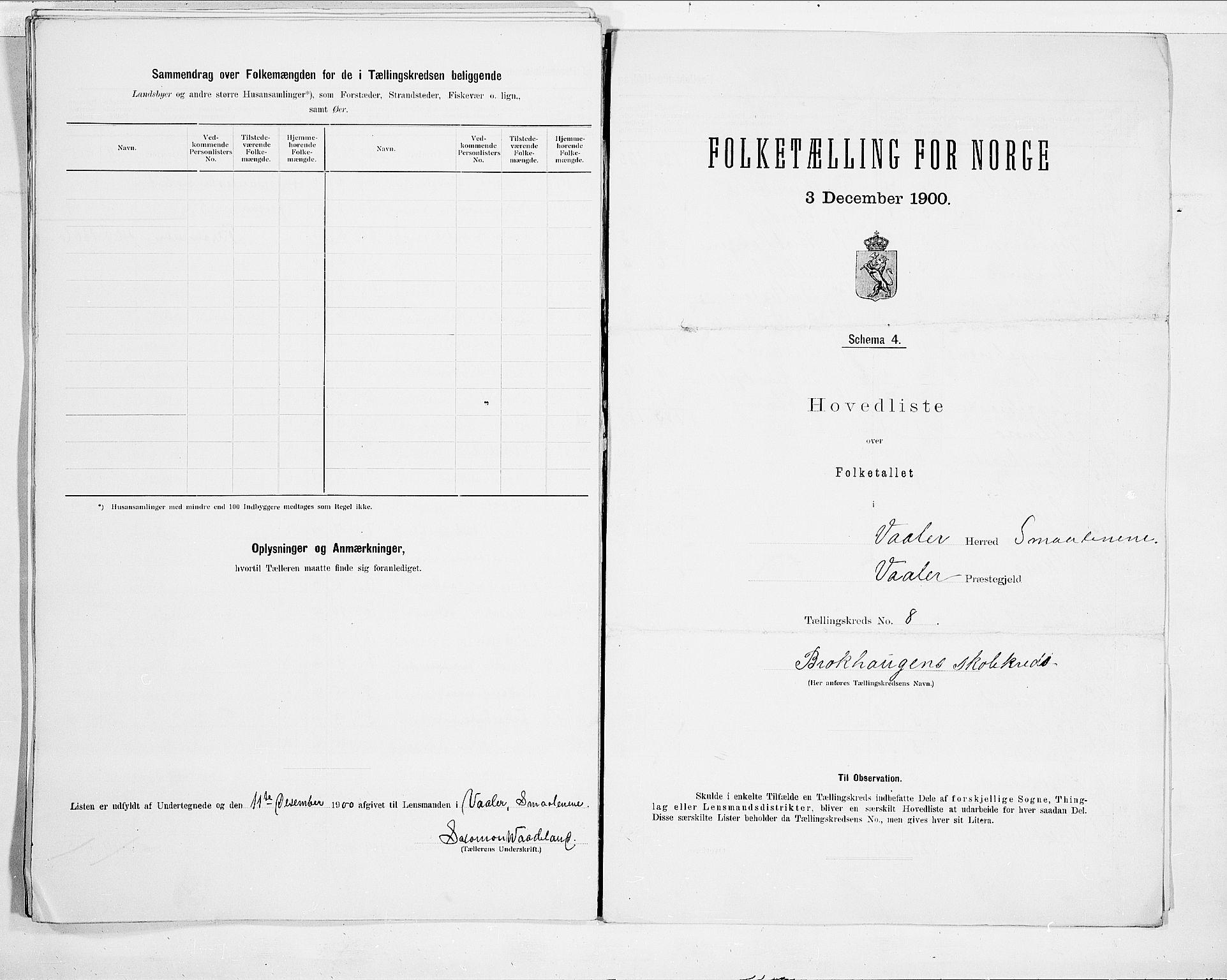 SAO, Folketelling 1900 for 0137 Våler herred, 1900, s. 20