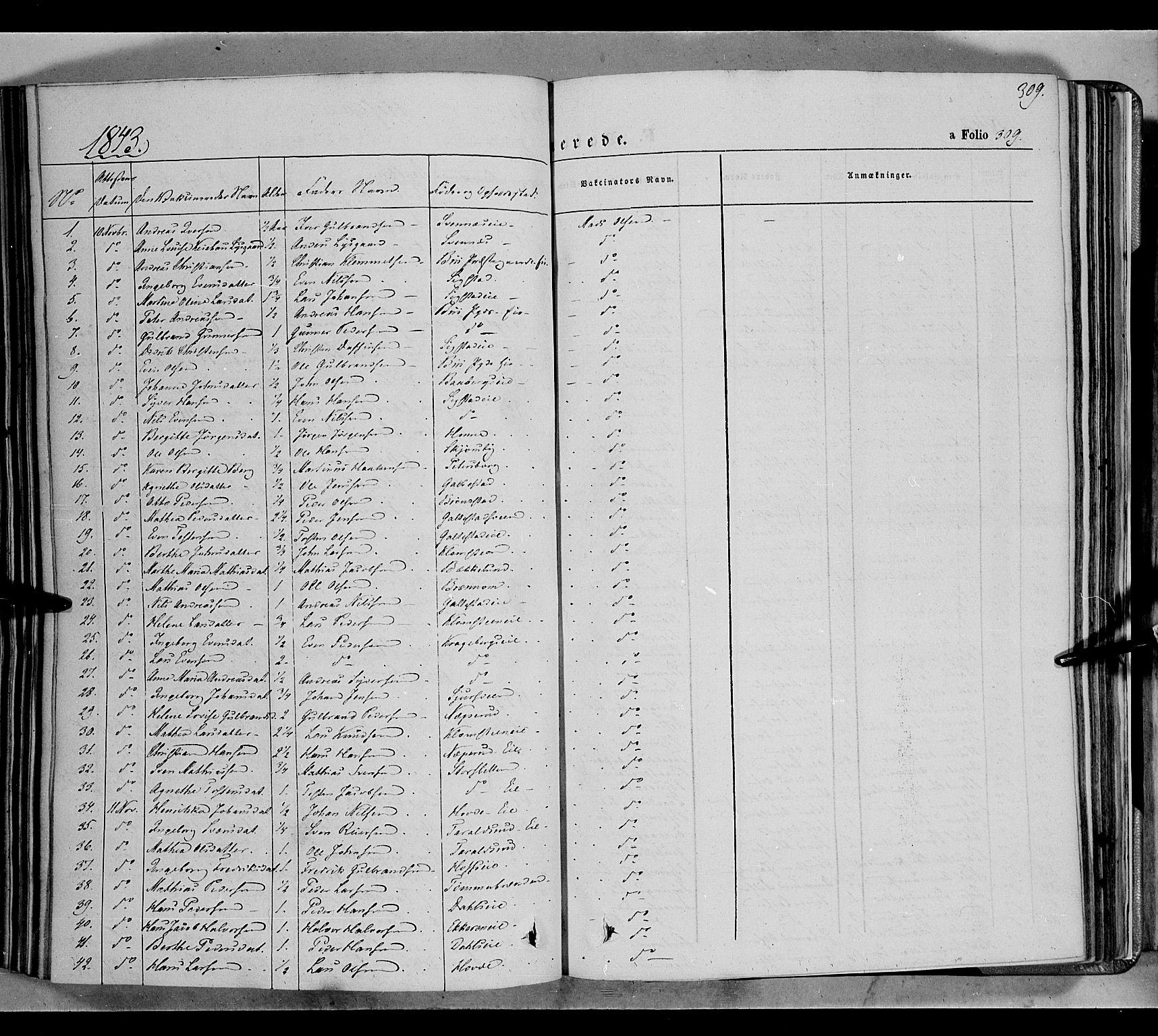 SAH, Biri prestekontor, Ministerialbok nr. 5, 1843-1854, s. 309