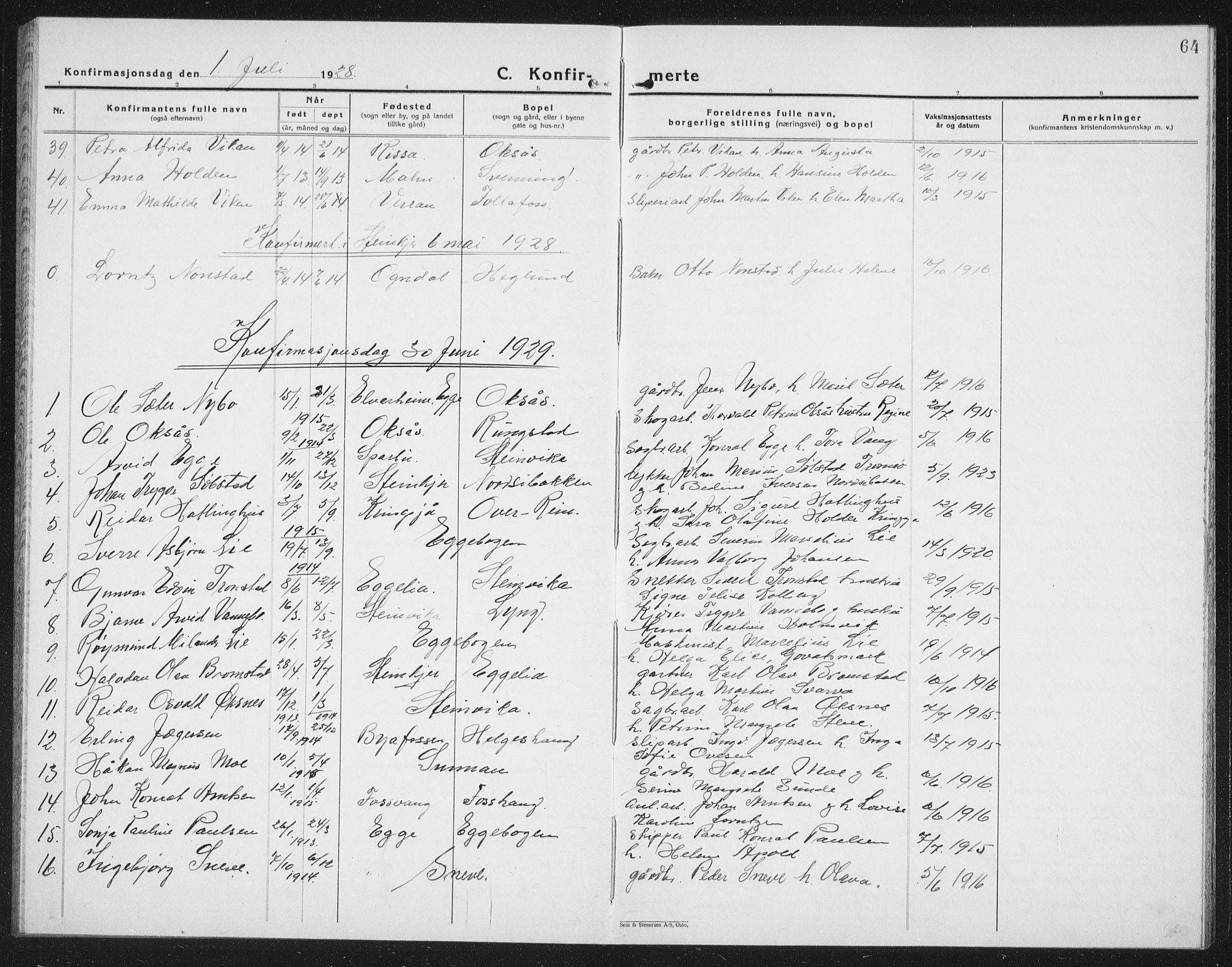 SAT, Ministerialprotokoller, klokkerbøker og fødselsregistre - Nord-Trøndelag, 740/L0383: Klokkerbok nr. 740C04, 1927-1939, s. 64