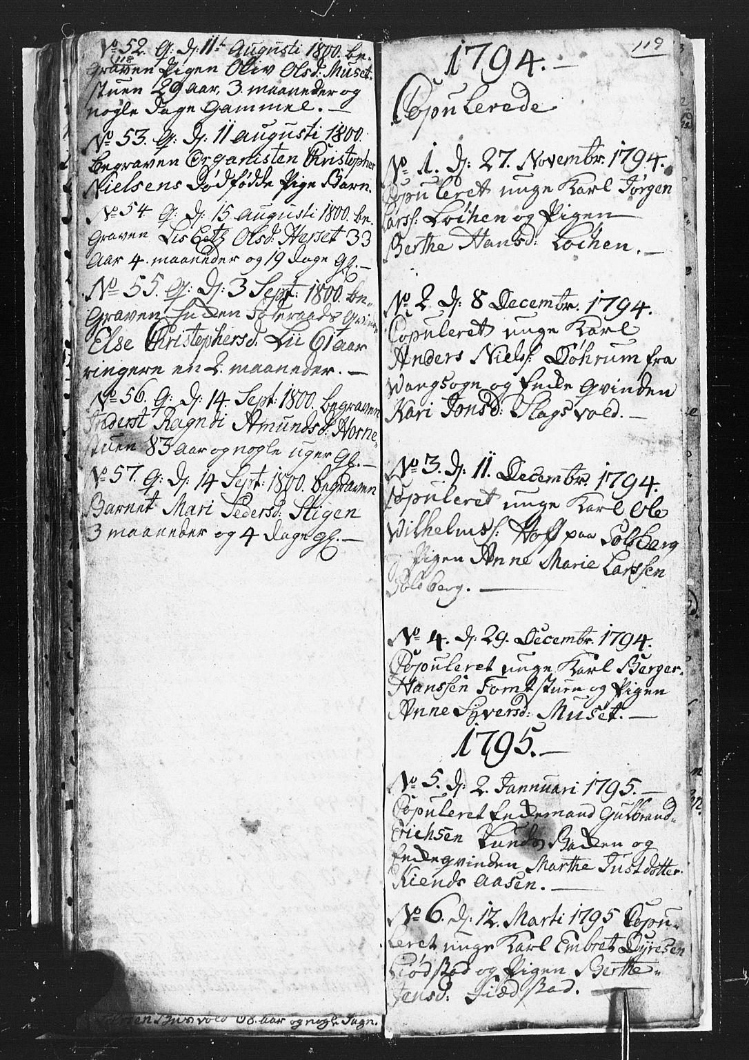SAH, Romedal prestekontor, L/L0002: Klokkerbok nr. 2, 1795-1800, s. 118-119