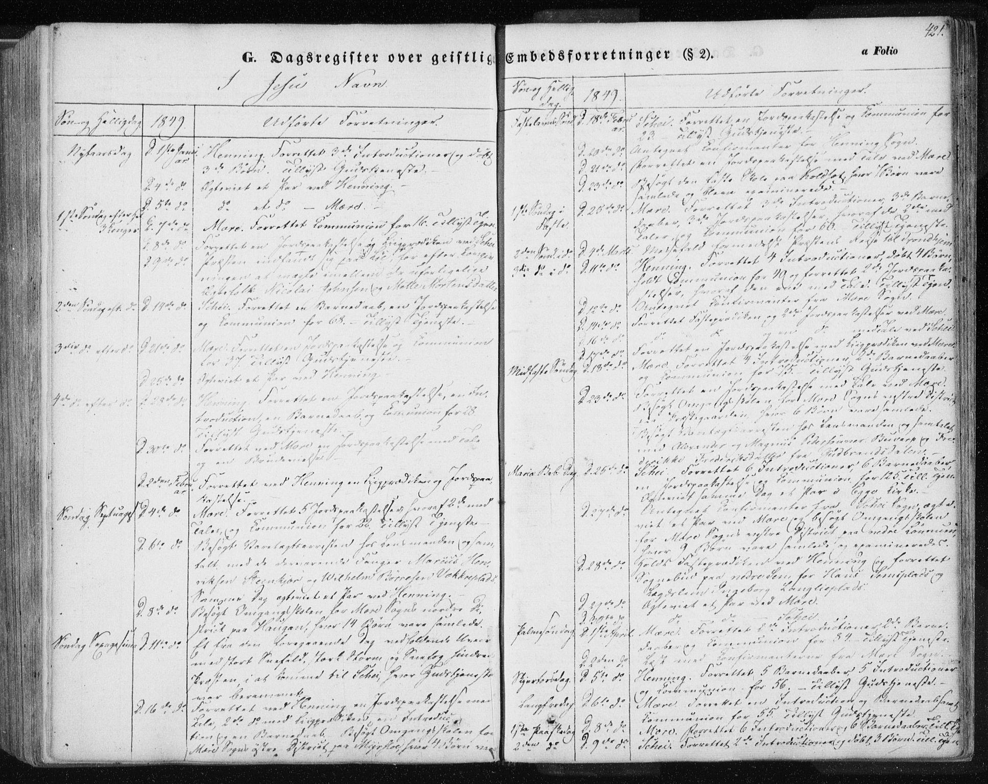 SAT, Ministerialprotokoller, klokkerbøker og fødselsregistre - Nord-Trøndelag, 735/L0342: Ministerialbok nr. 735A07 /1, 1849-1862, s. 421