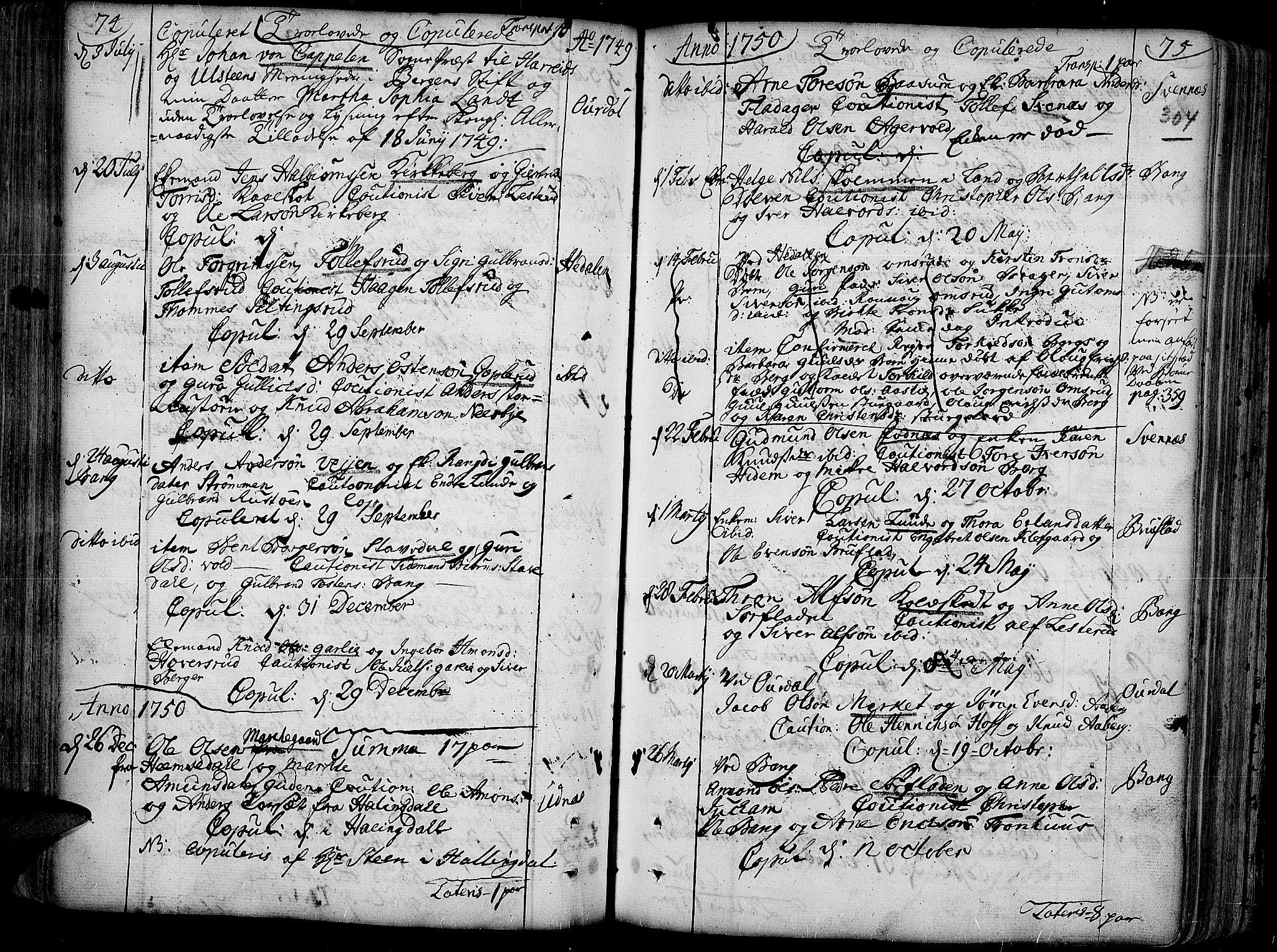 SAH, Aurdal prestekontor, Ministerialbok nr. 4, 1730-1762, s. 74-75