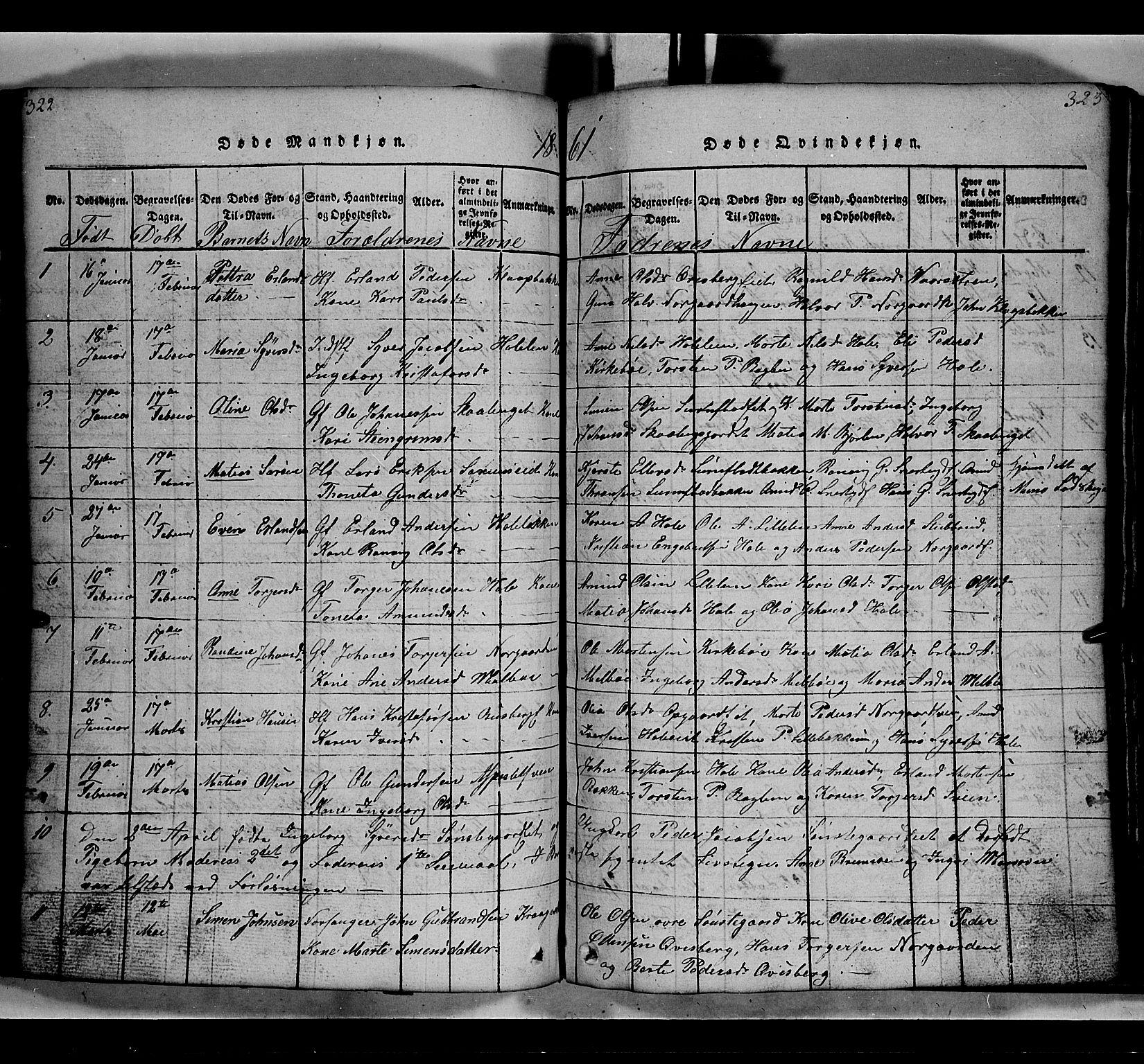 SAH, Gausdal prestekontor, Klokkerbok nr. 2, 1818-1874, s. 322-323