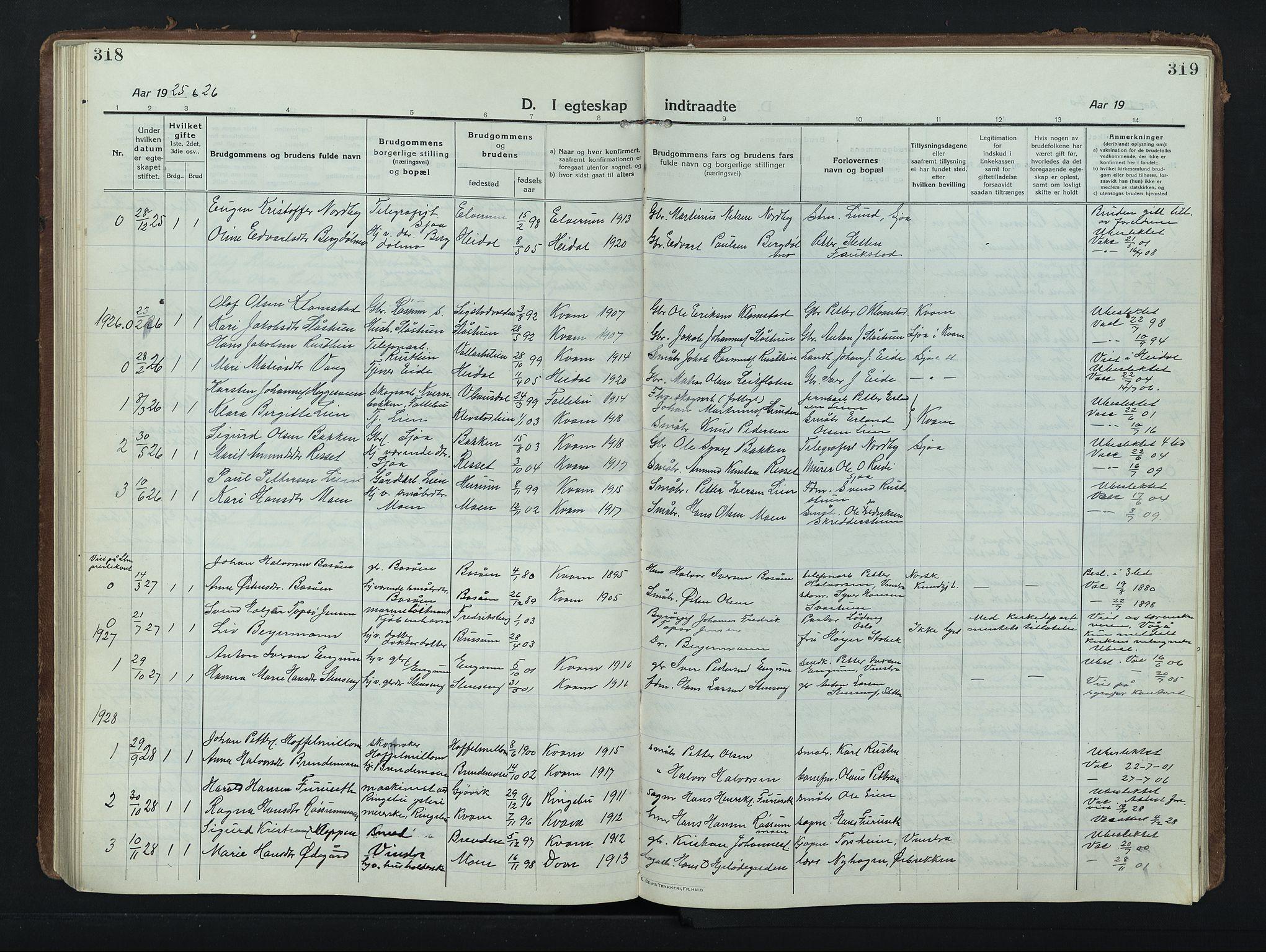 SAH, Nord-Fron prestekontor, Klokkerbok nr. 8, 1915-1948, s. 318-319