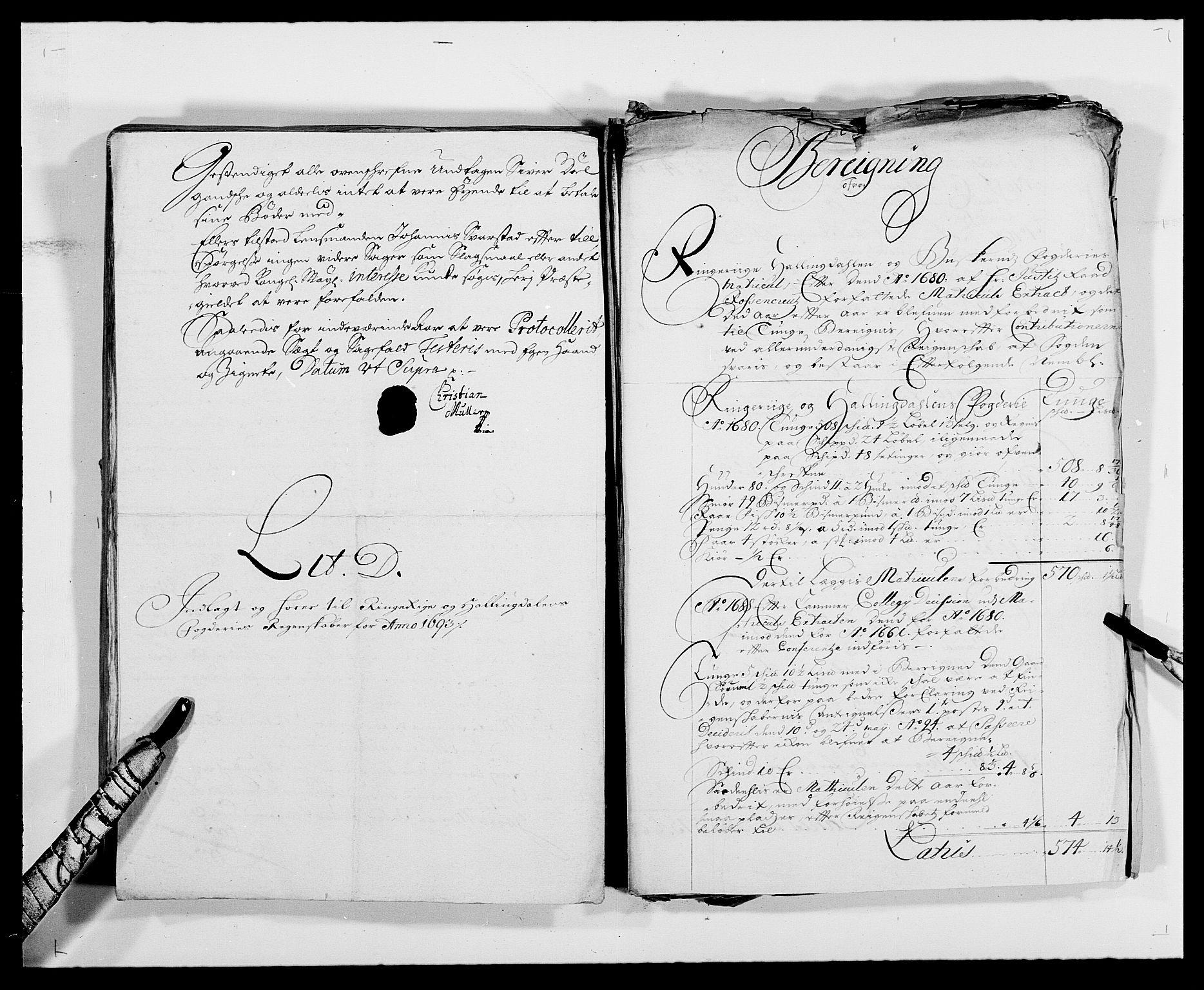 RA, Rentekammeret inntil 1814, Reviderte regnskaper, Fogderegnskap, R21/L1450: Fogderegnskap Ringerike og Hallingdal, 1693, s. 104